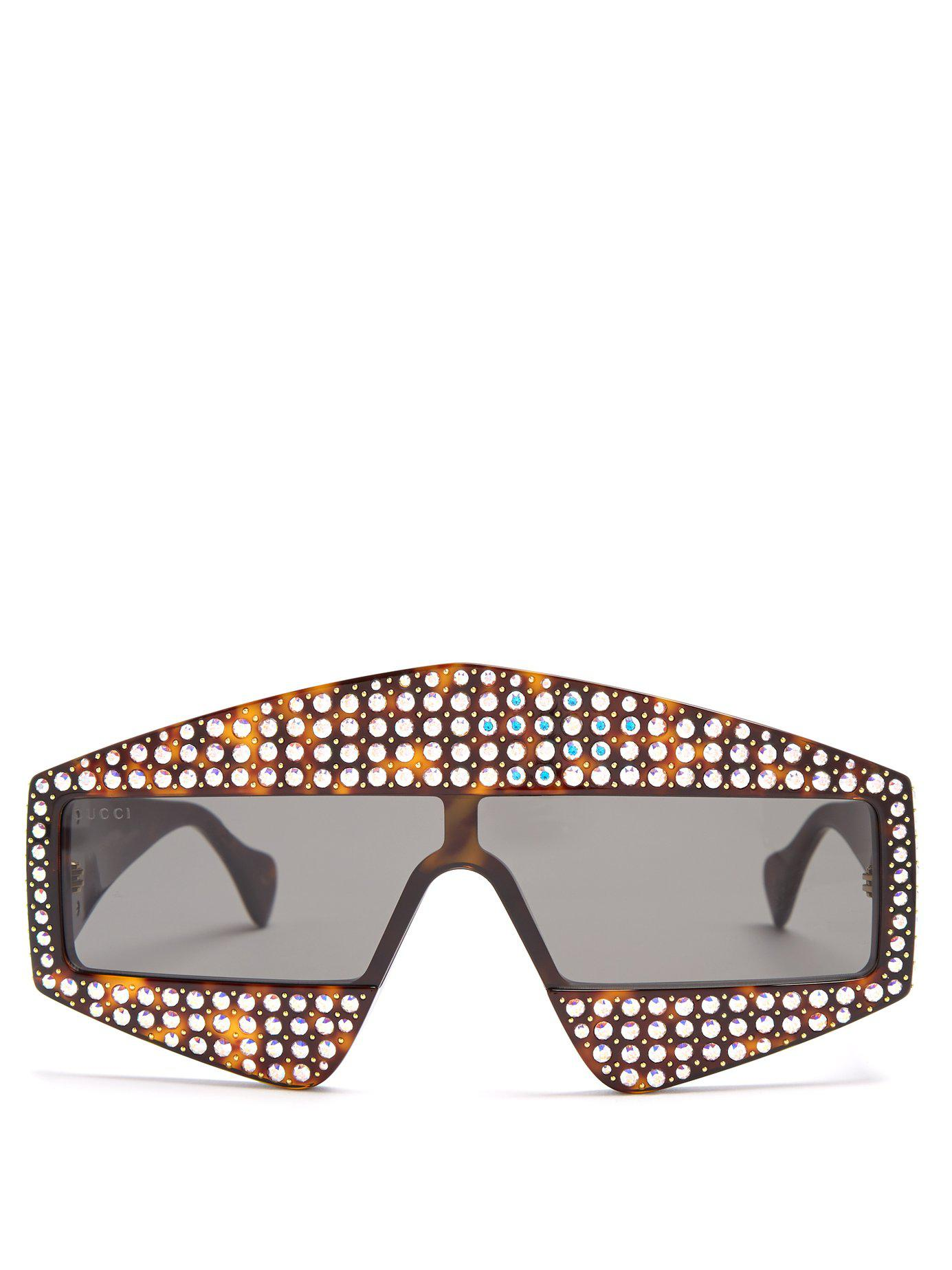 30ec8e451ad Lyst - Gucci Crystal Embellished Acetate Sunglasses in Brown