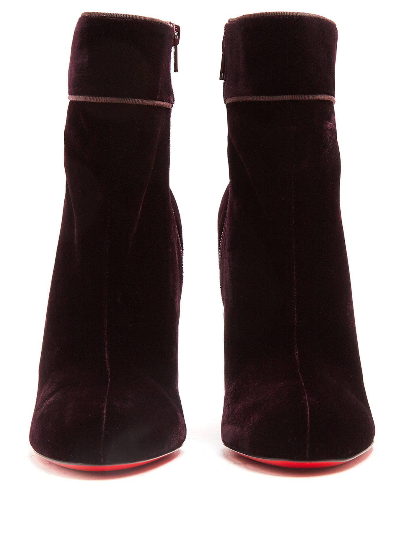 hot sale online 18253 5c75f Christian Louboutin Purple Moulamax 100mm Velvet Boots