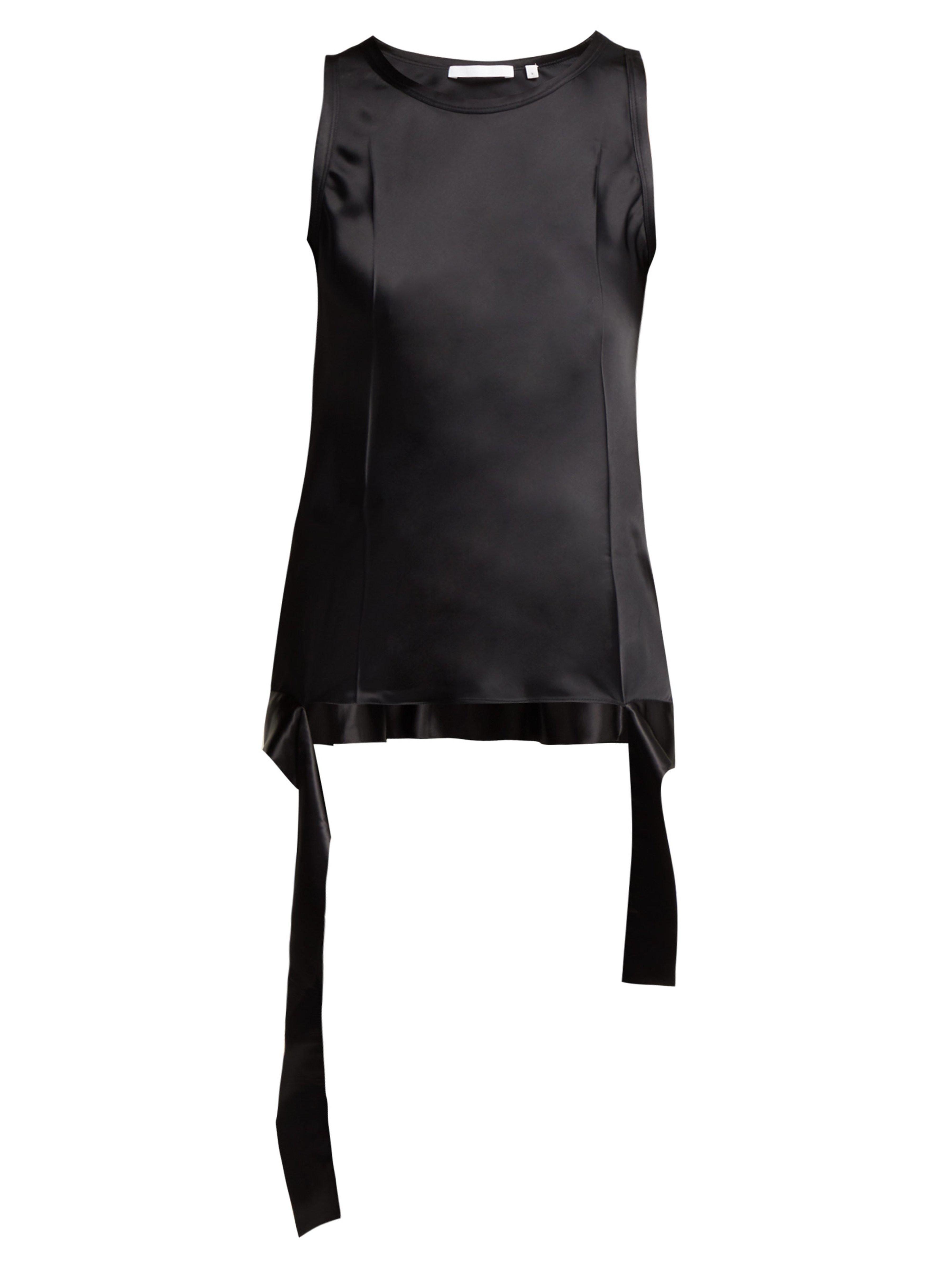 7ca90939a16 Helmut Lang Asymmetric Hem Sleeveless Satin Top in Black - Lyst