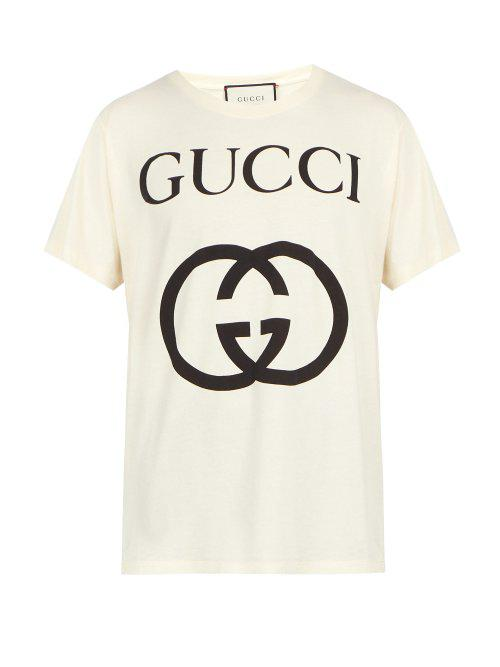 424757e91d9e Gucci - White Logo Print Cotton T Shirt for Men - Lyst. View fullscreen