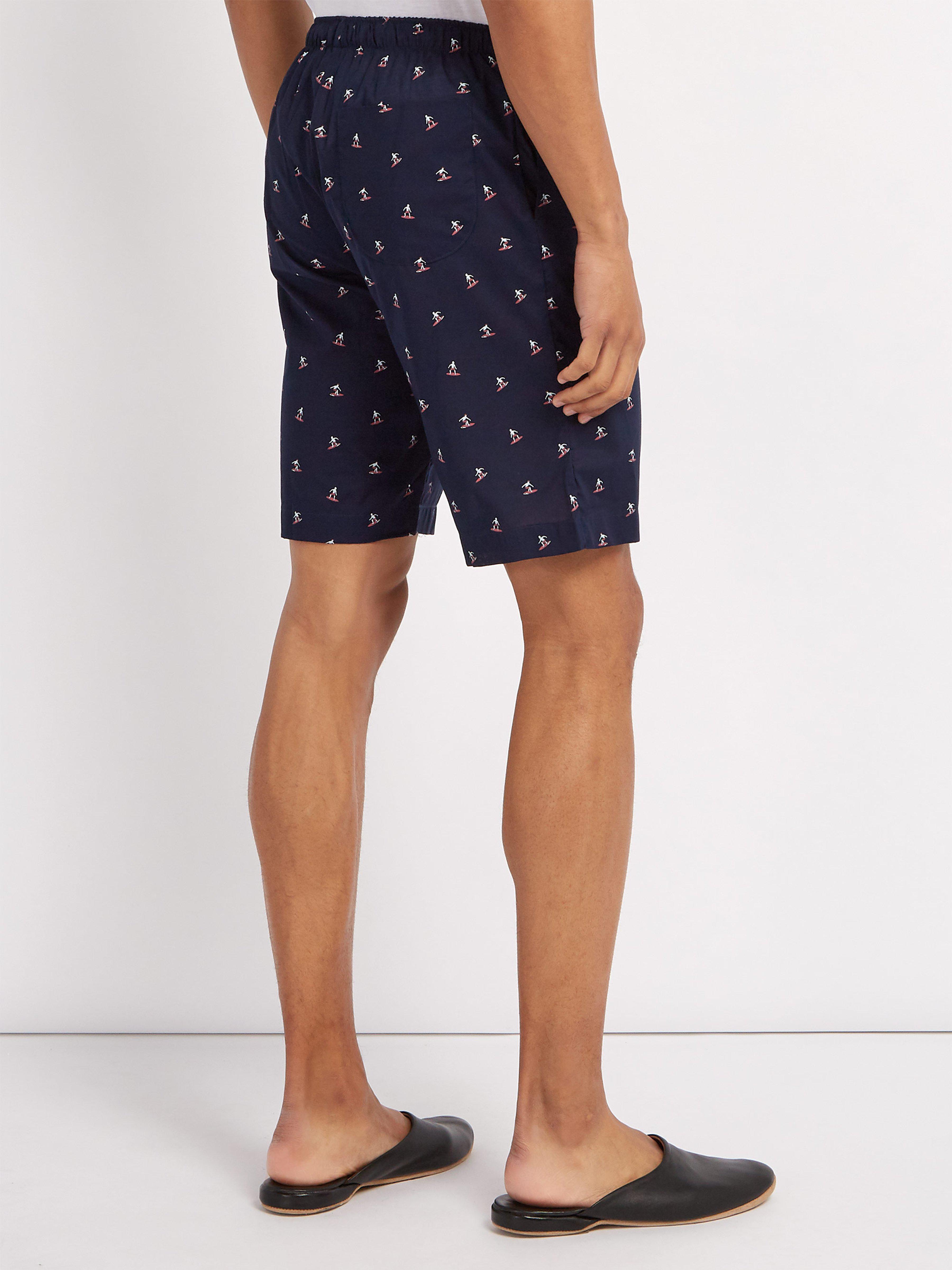 15f1cc526c8 Derek Rose Nelson Surfer Print Cotton Pyjama Shorts in Blue for Men ...
