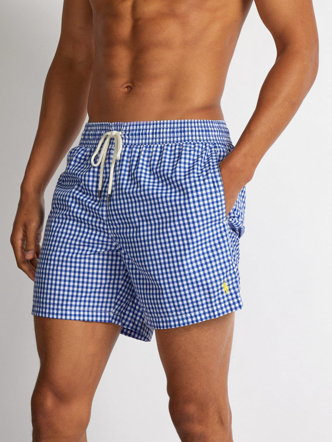 c5275334a8 Polo Ralph Lauren Logo Embroidered Gingham Swim Shorts in Blue for Men -  Save 51% - Lyst