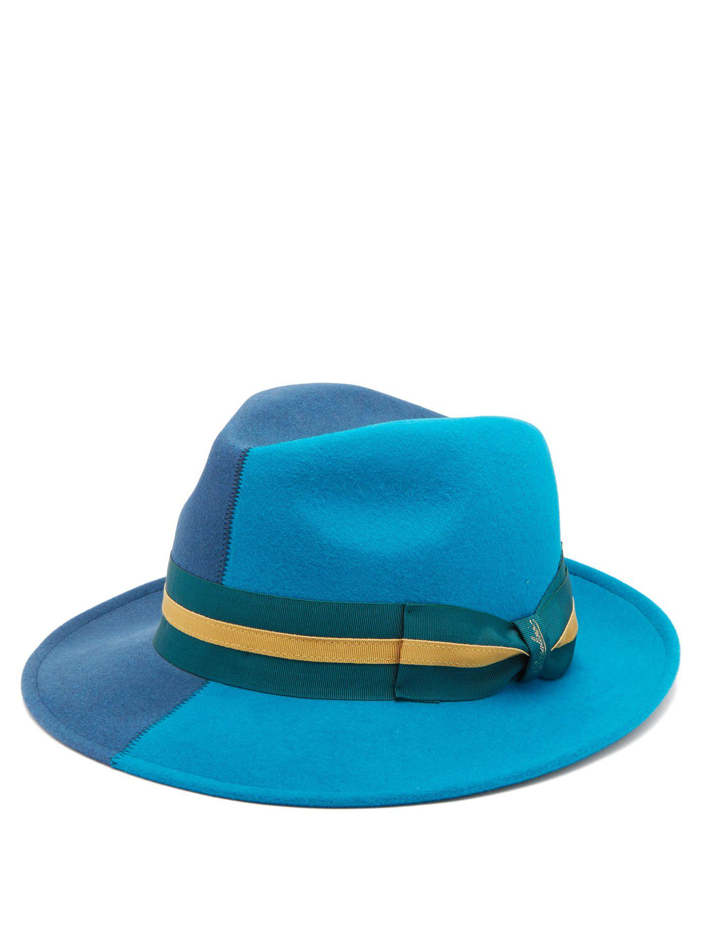 Think, borsalino fur felt blue striped band