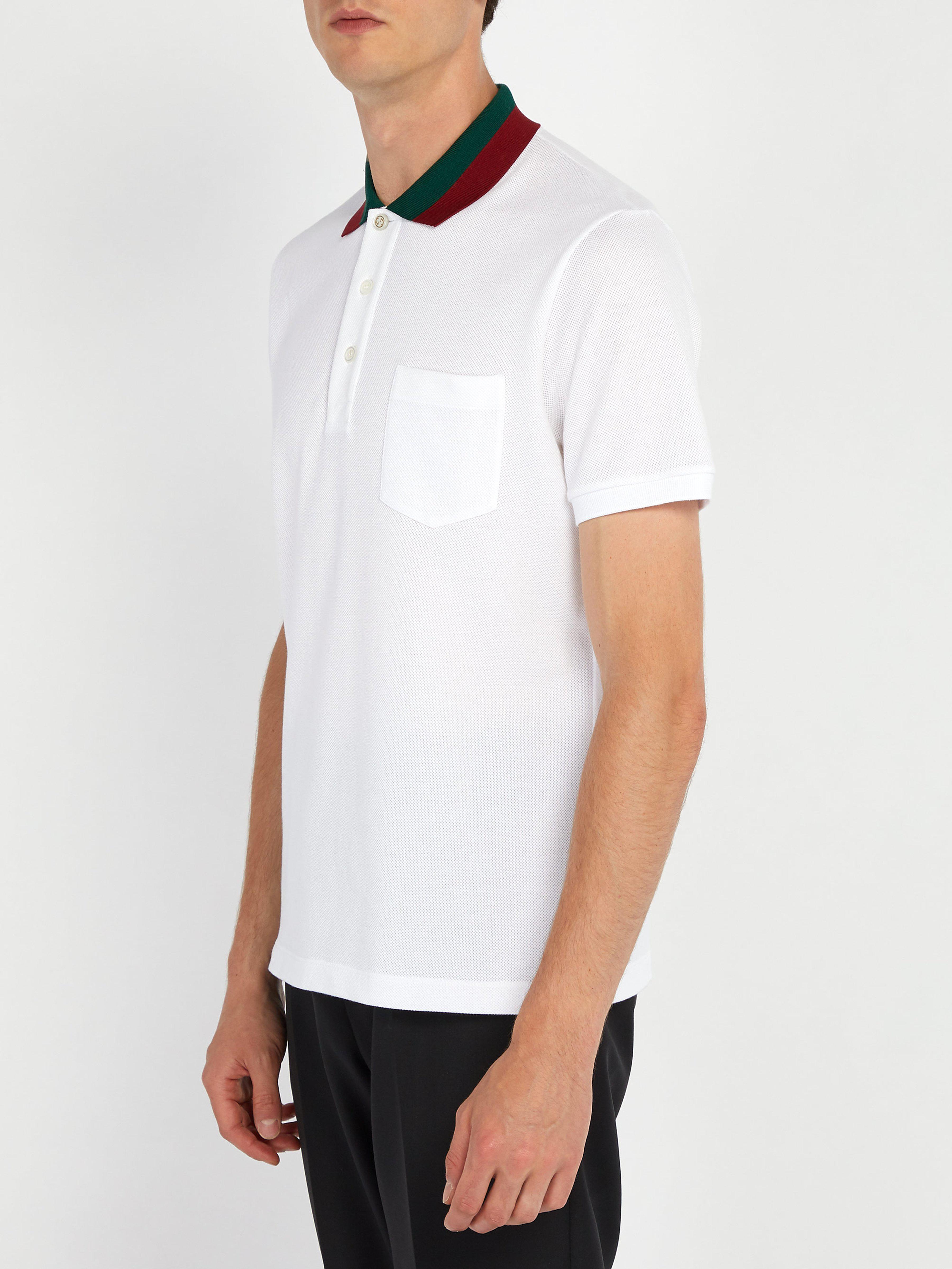 39d07262191 Lyst - Polo en piqué de coton à col bande Web Gucci pour homme en coloris  Blanc