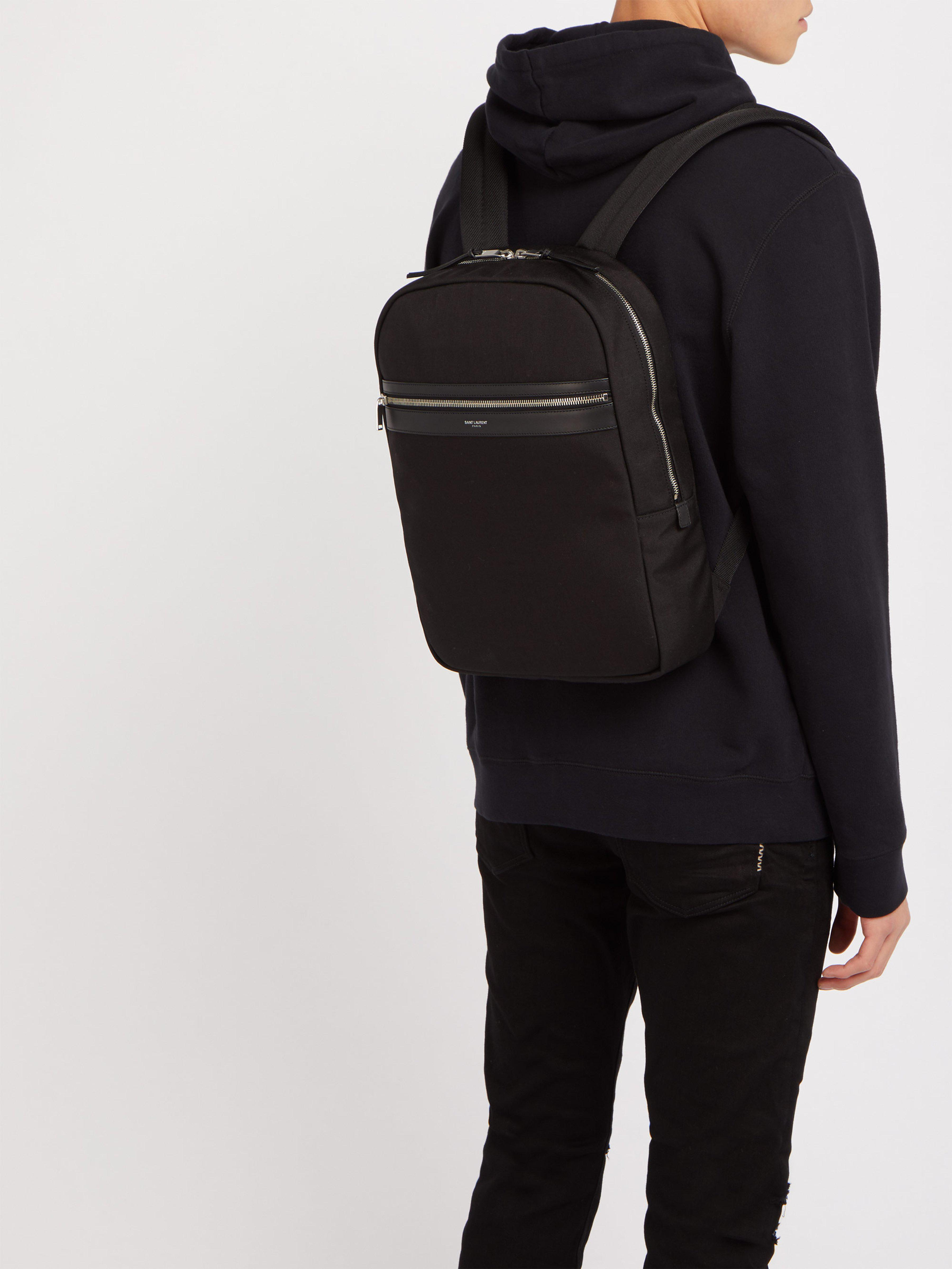 c9da8ae8f5 Saint Laurent City Canvas Backpack in Black for Men - Lyst