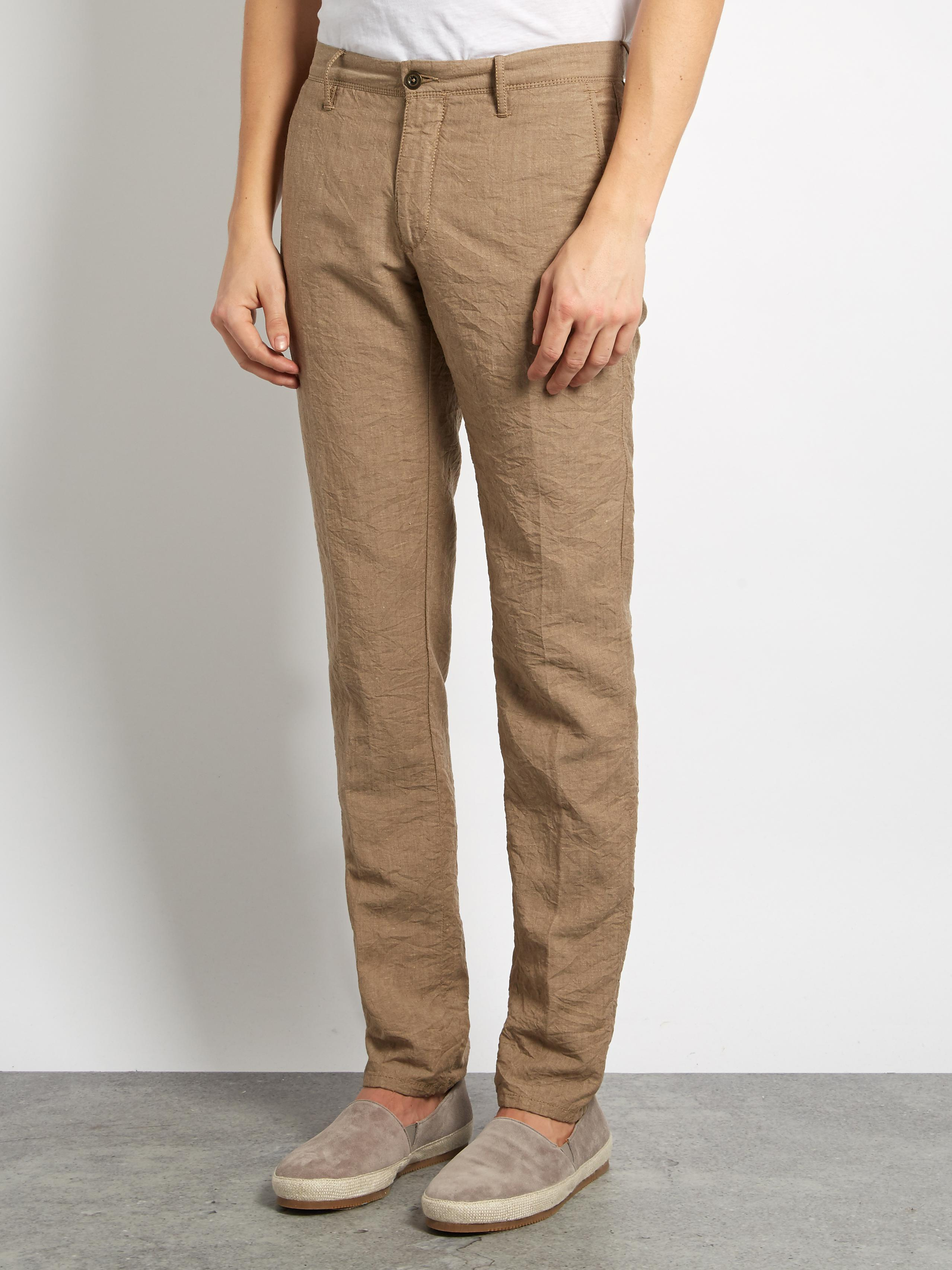 Incotex Slim-leg Linen-blend Chino Trousers in Beige (Natural) for Men
