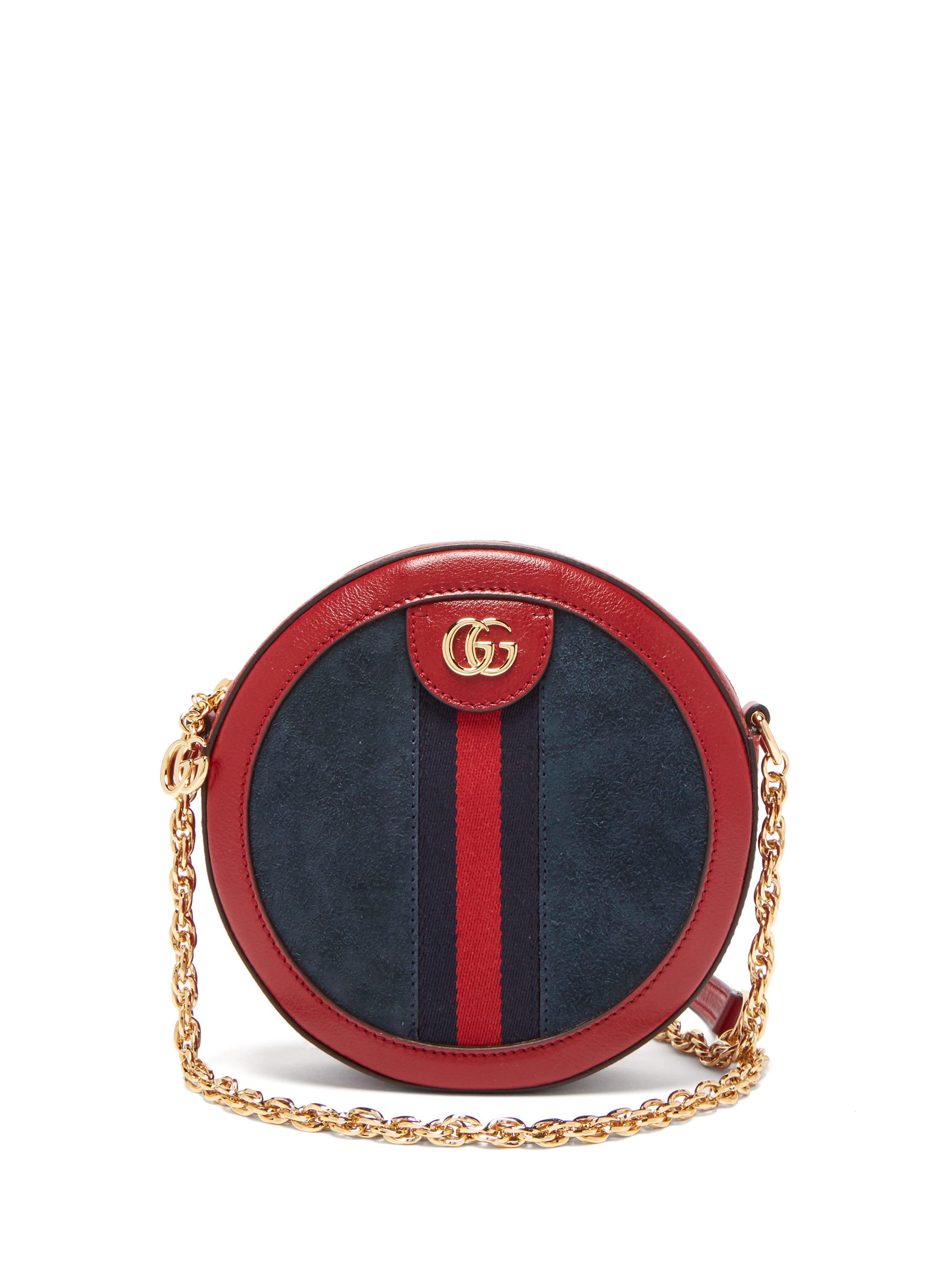 7f1b915185af Gucci Ophidia Leather And Suede Cross Body Bag in Red - Lyst
