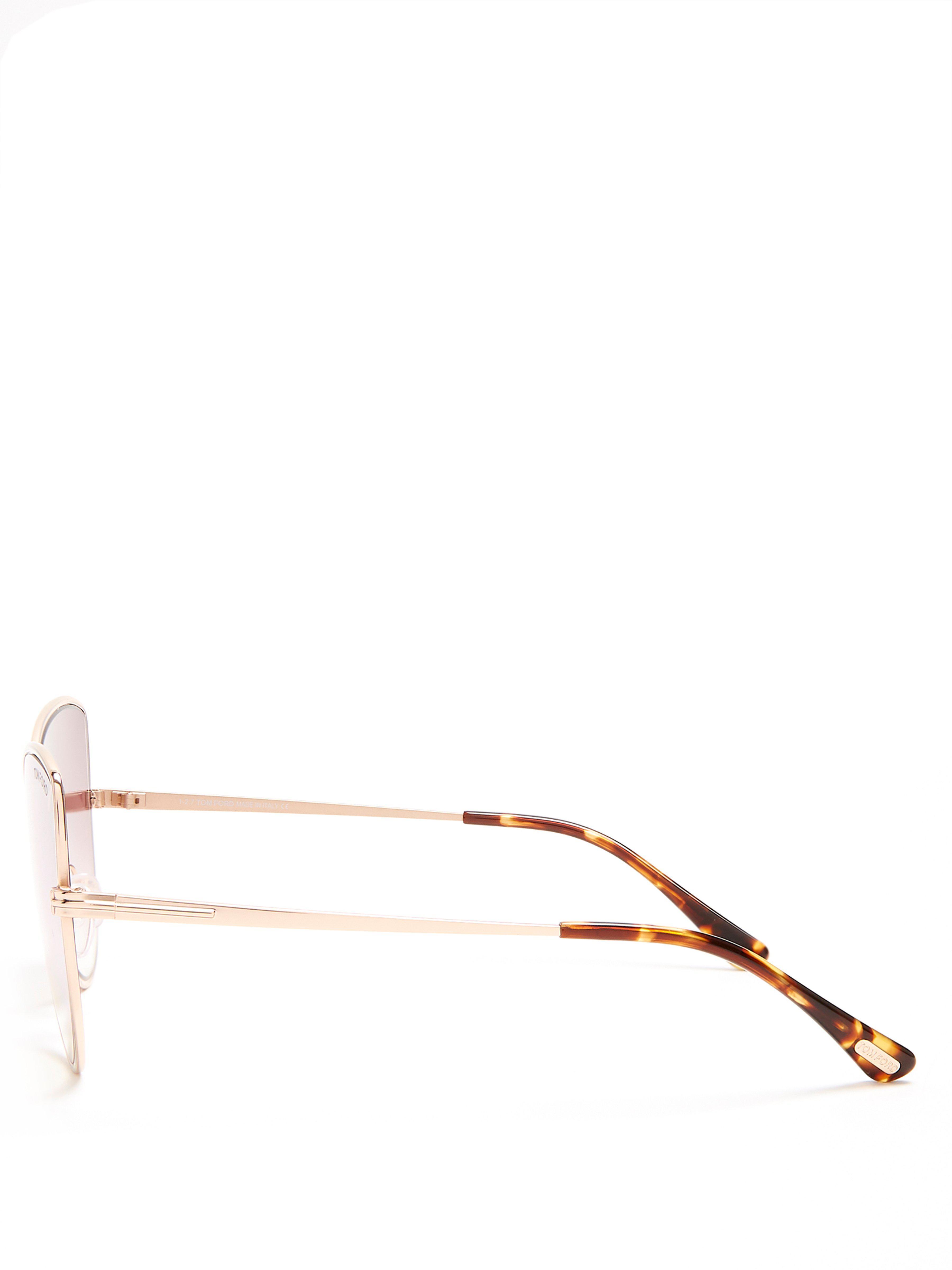 Tom Ford Silk Elise Cat-eye Frame Sunglasses in Metallic