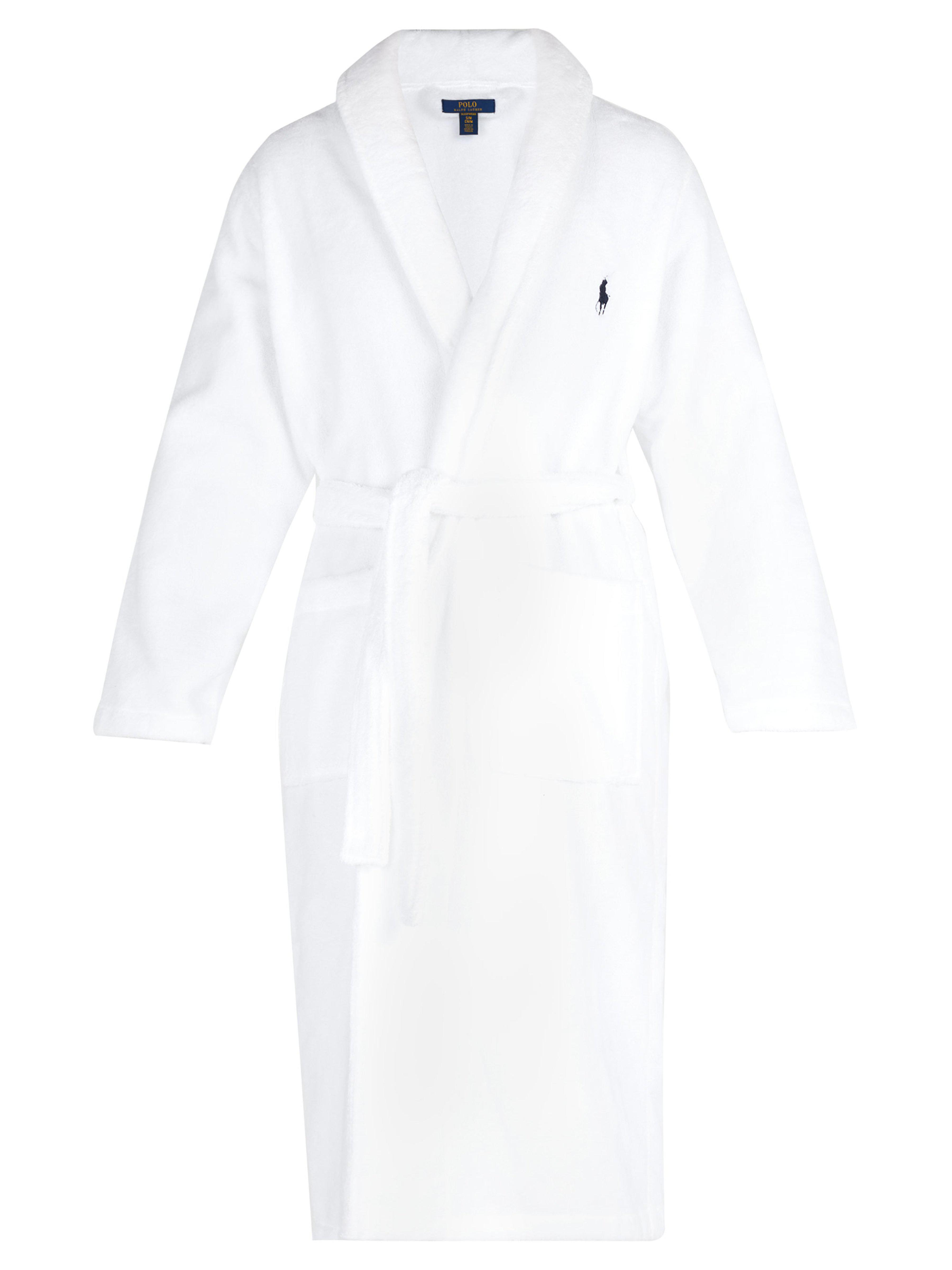Polo Ralph Lauren Logo Embroidered Terry Towelling Cotton Bathrobe ... f2c51d330