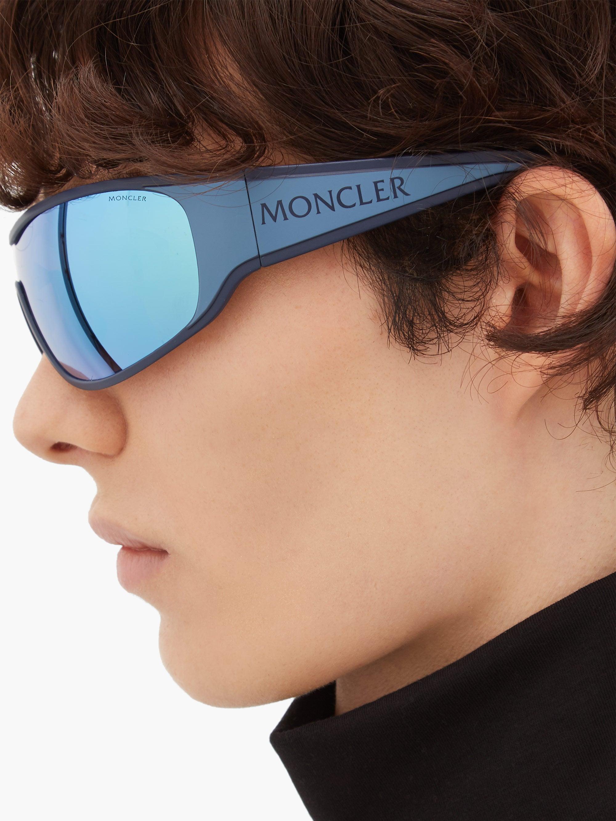 Lunettes de soleil de cyclisme en acétate à logo Caoutchouc Moncler pour homme en coloris Bleu FEVE