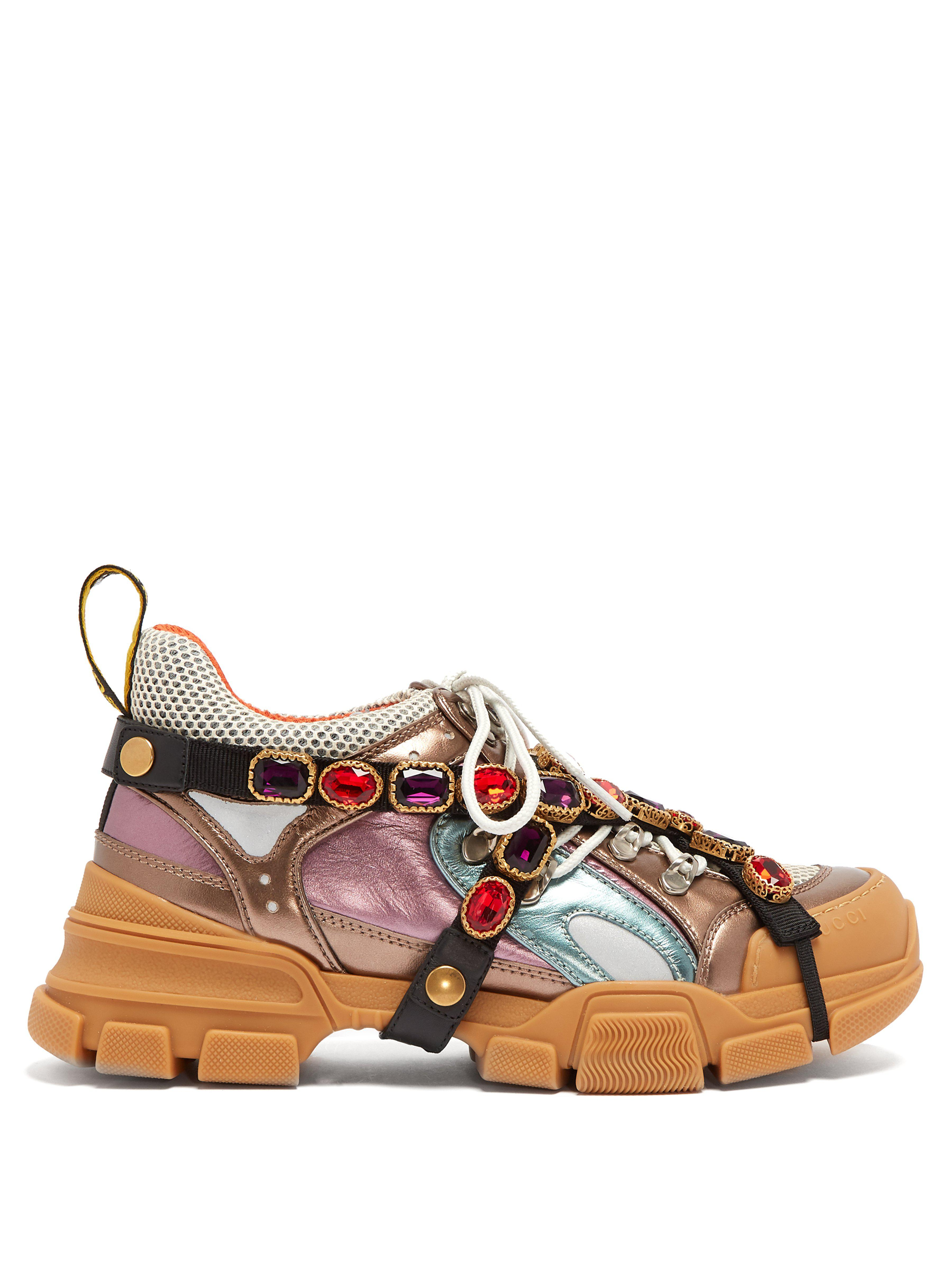 3369c1983 Gucci Flashtrek Metallic Leather Hiker Sneaker With Chain Strap ...