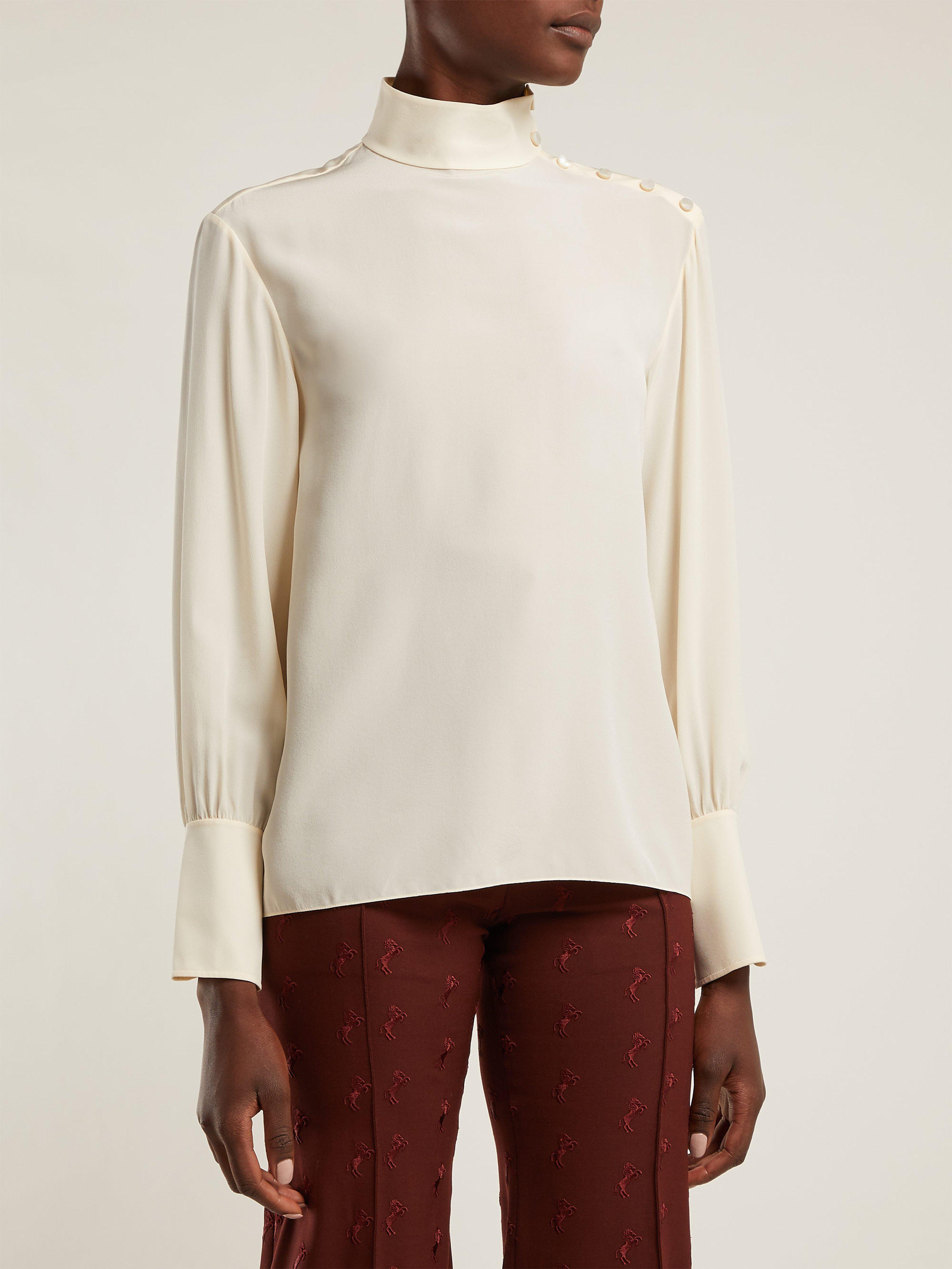 f096823e56c11 Chloé High Neck Silk Crepe De Chine Blouse in White - Lyst