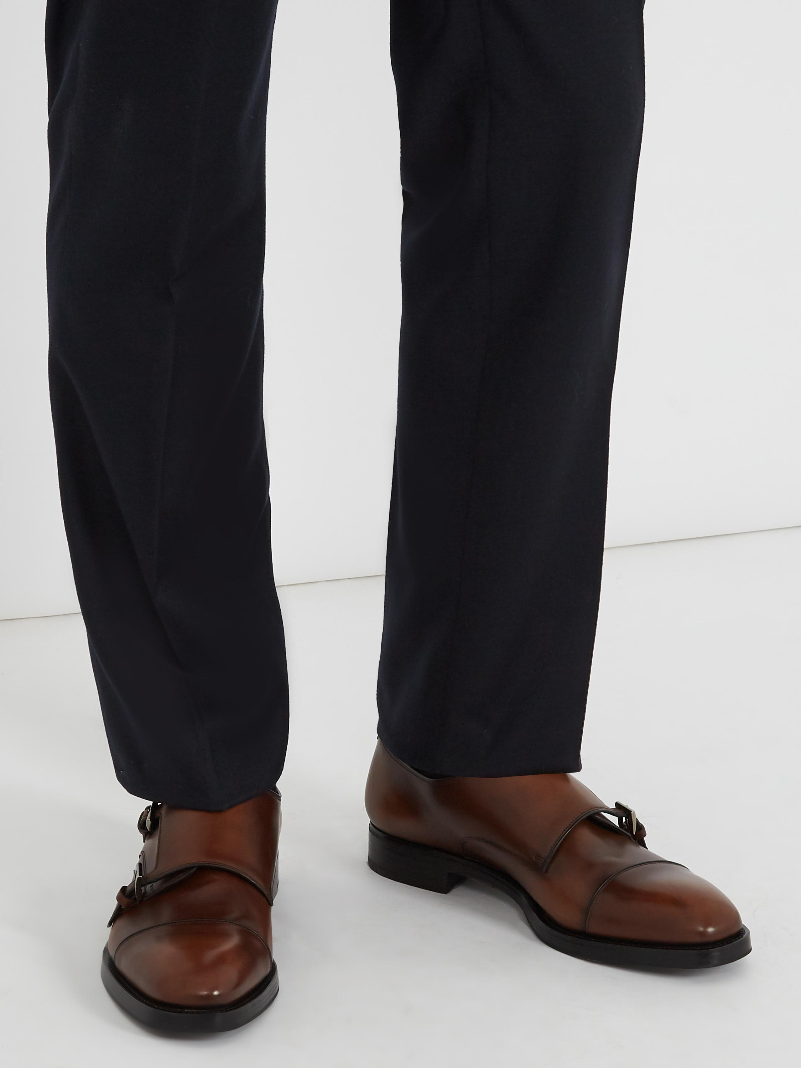Prada Double Monk-strap Leather Shoes