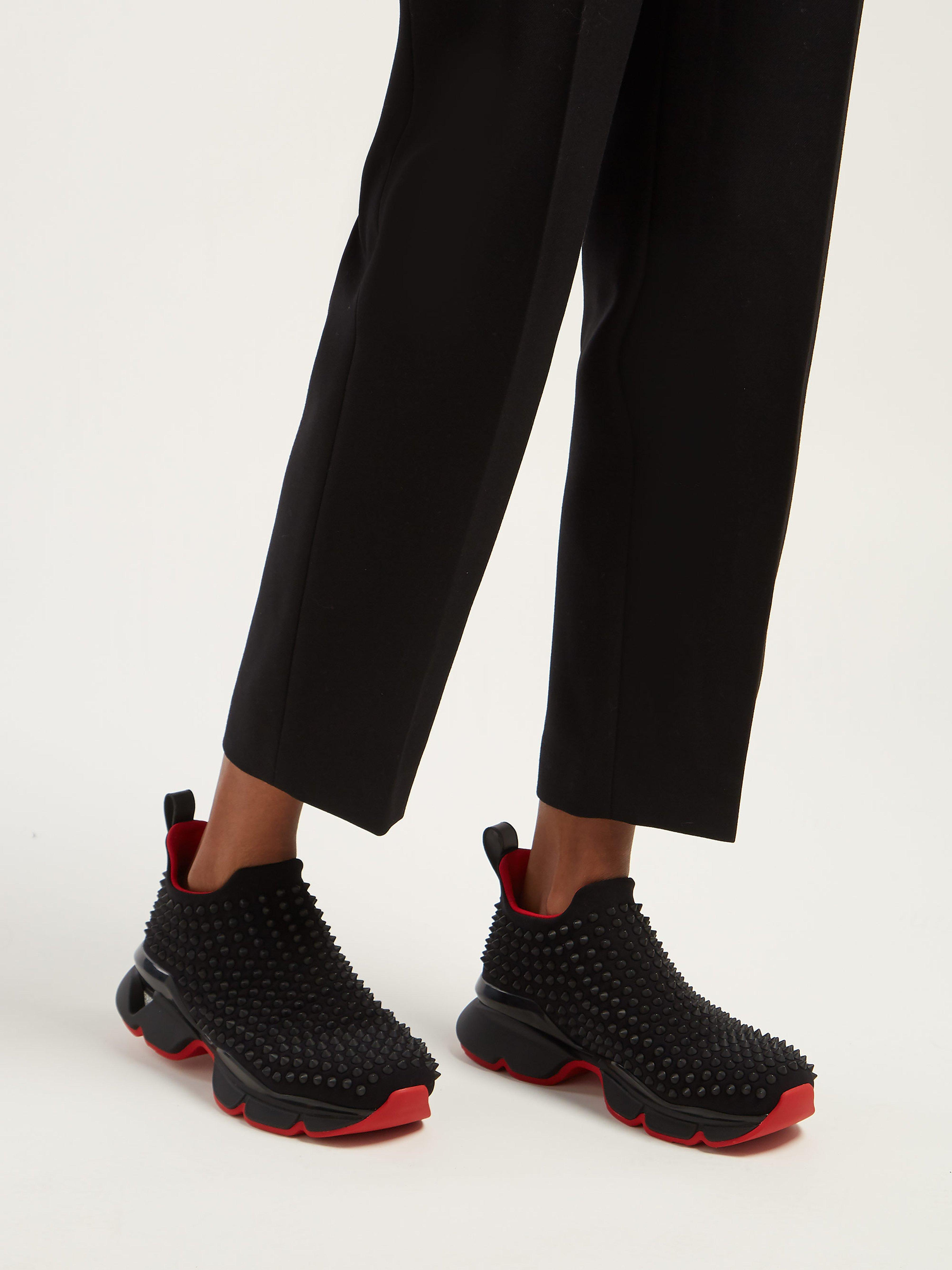 86c7fd09d37a Christian Louboutin - Black Spike Sock Studded Low Top Trainers - Lyst.  View fullscreen