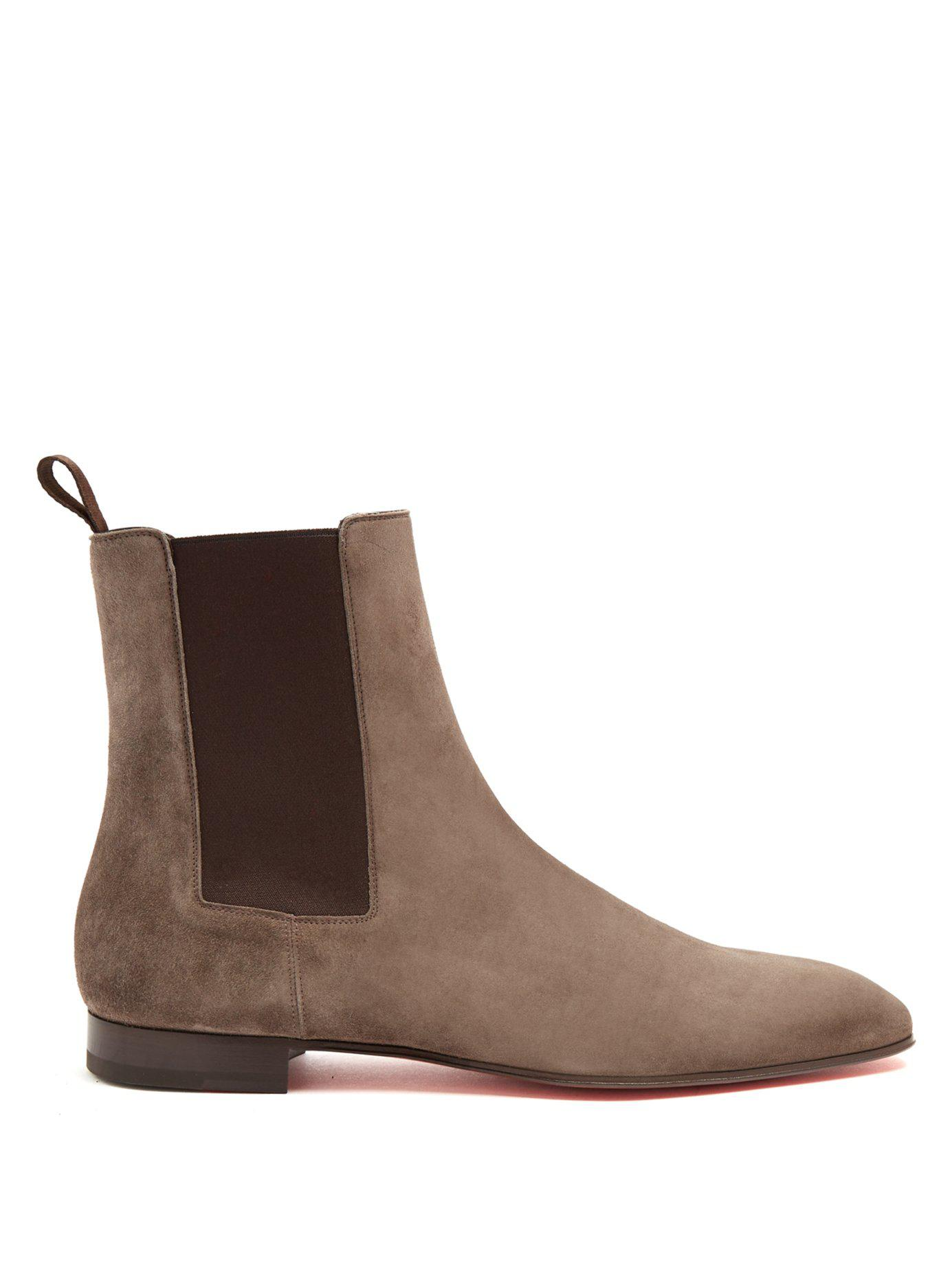 8f4c6b4fcfd3 ... czech christian louboutin. mens gray roadie suede chelsea boots 9852a  173fd