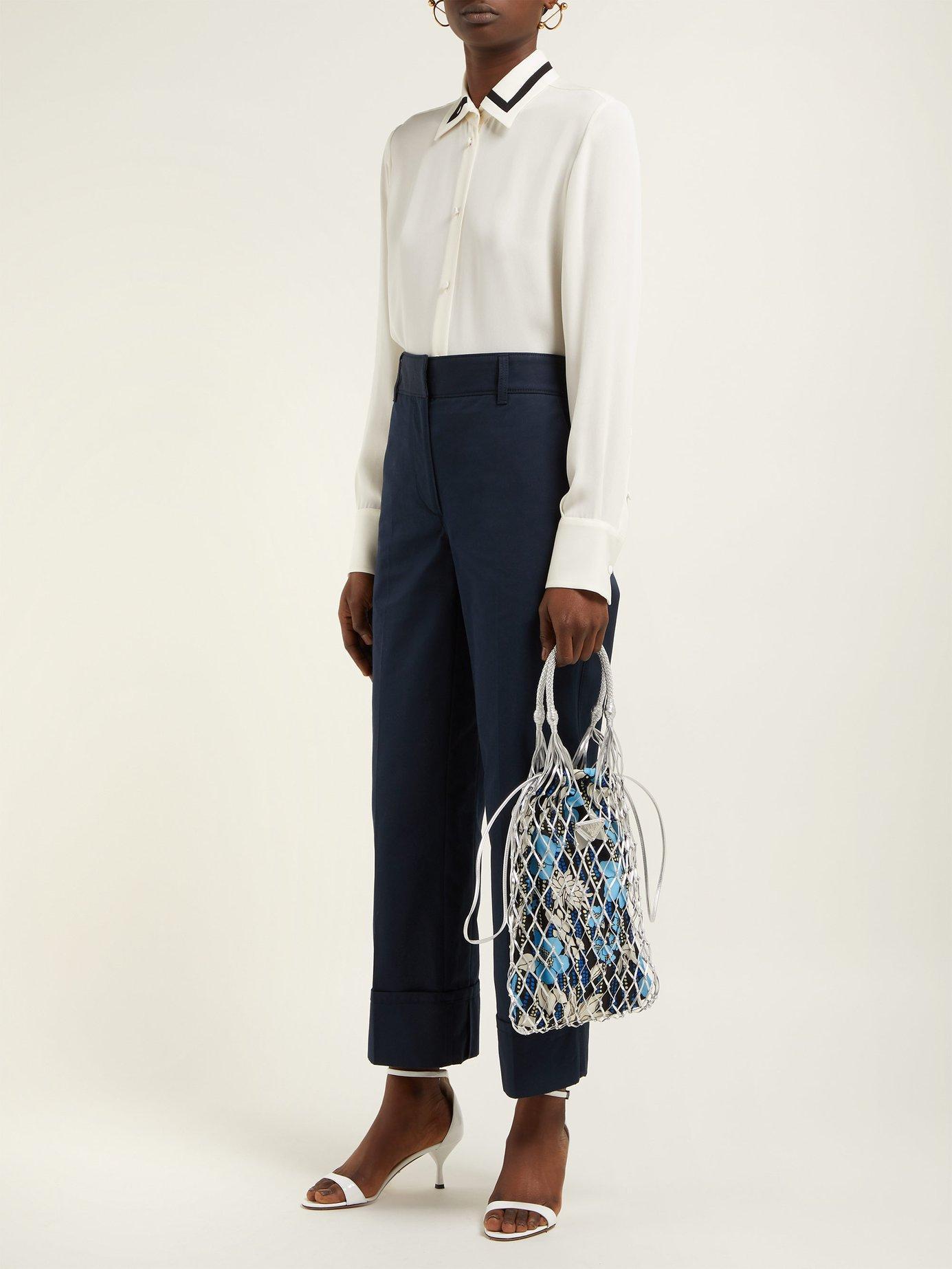 Prada - Blue Netted Leather Floral Print Bag - Lyst. View fullscreen 30703bedec