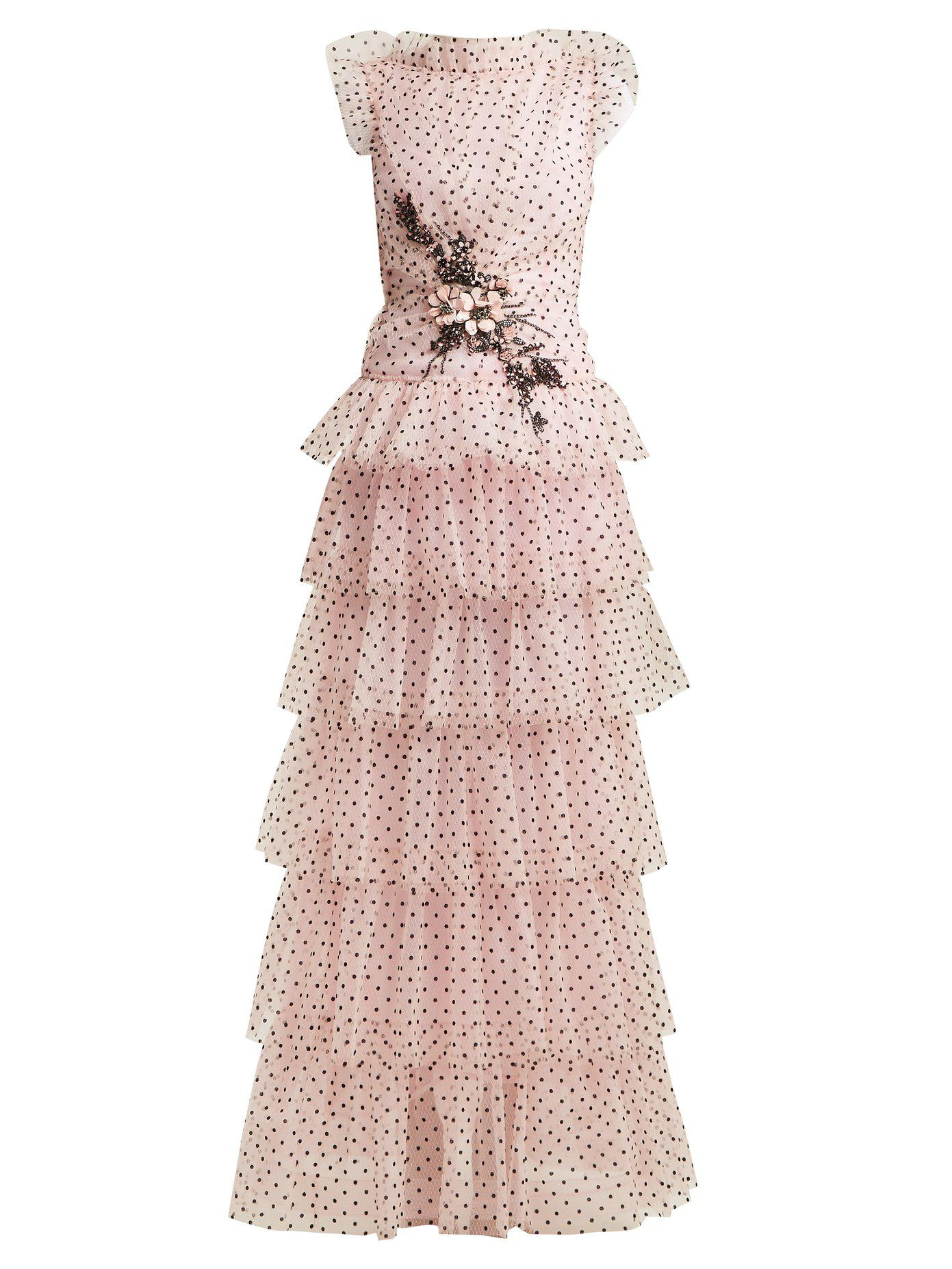 Soirée Pink Coloris Robe En À Moucheté Tulle Volants Rodarte De F1JclK