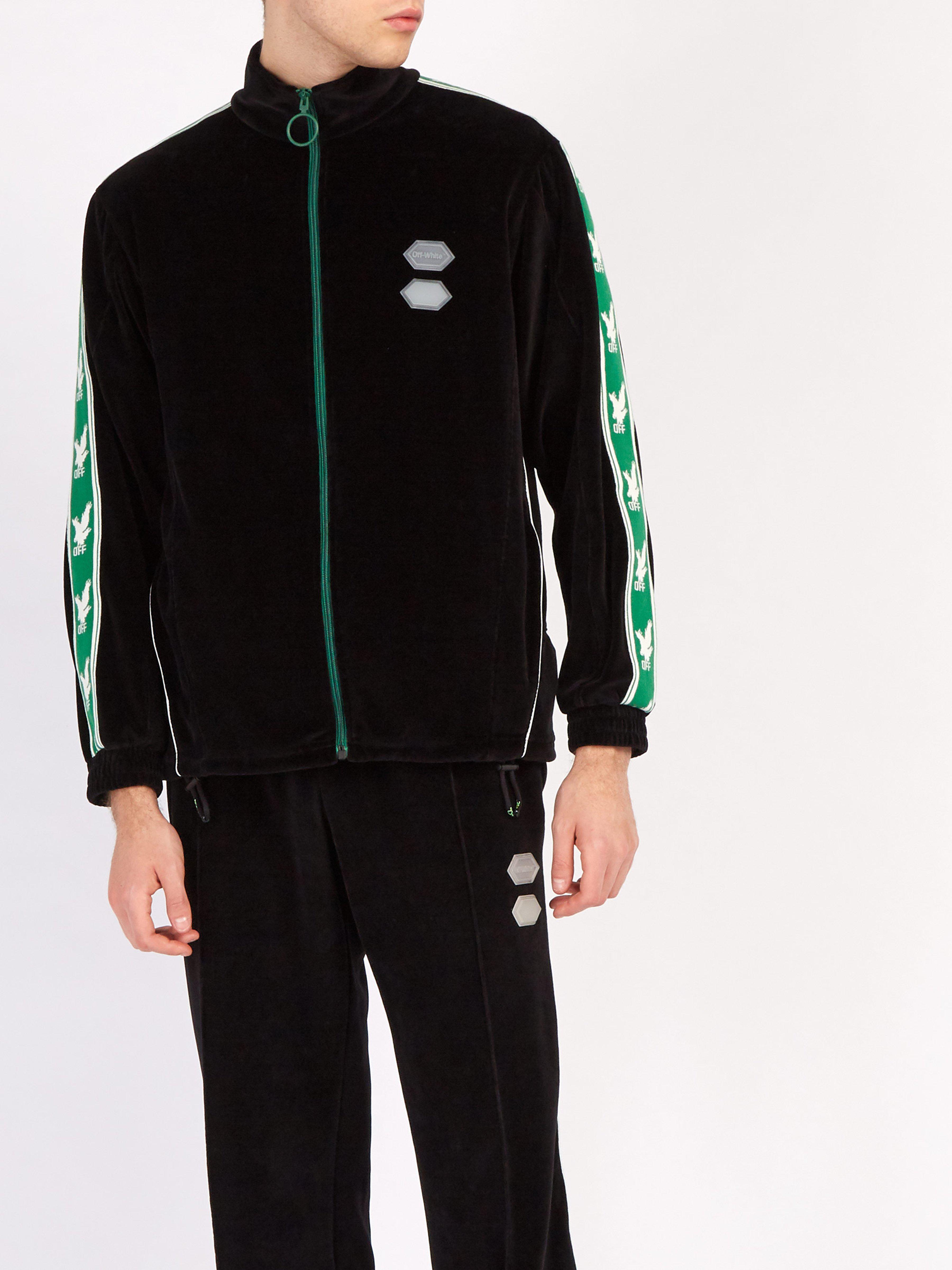 02ac0607238 Men's Black Logo Sleeve Zip Through Velour Track Top