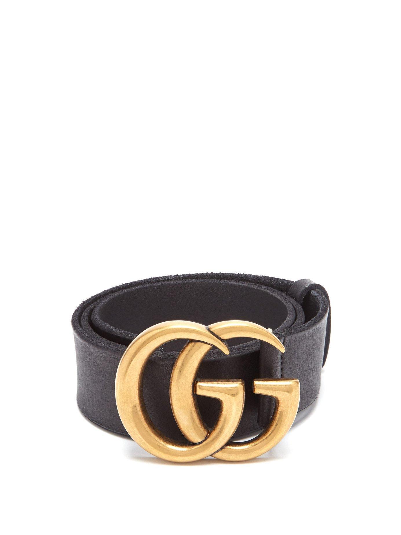 261ecae7fcf Gucci Gg Logo Leather Belt in Black - Lyst