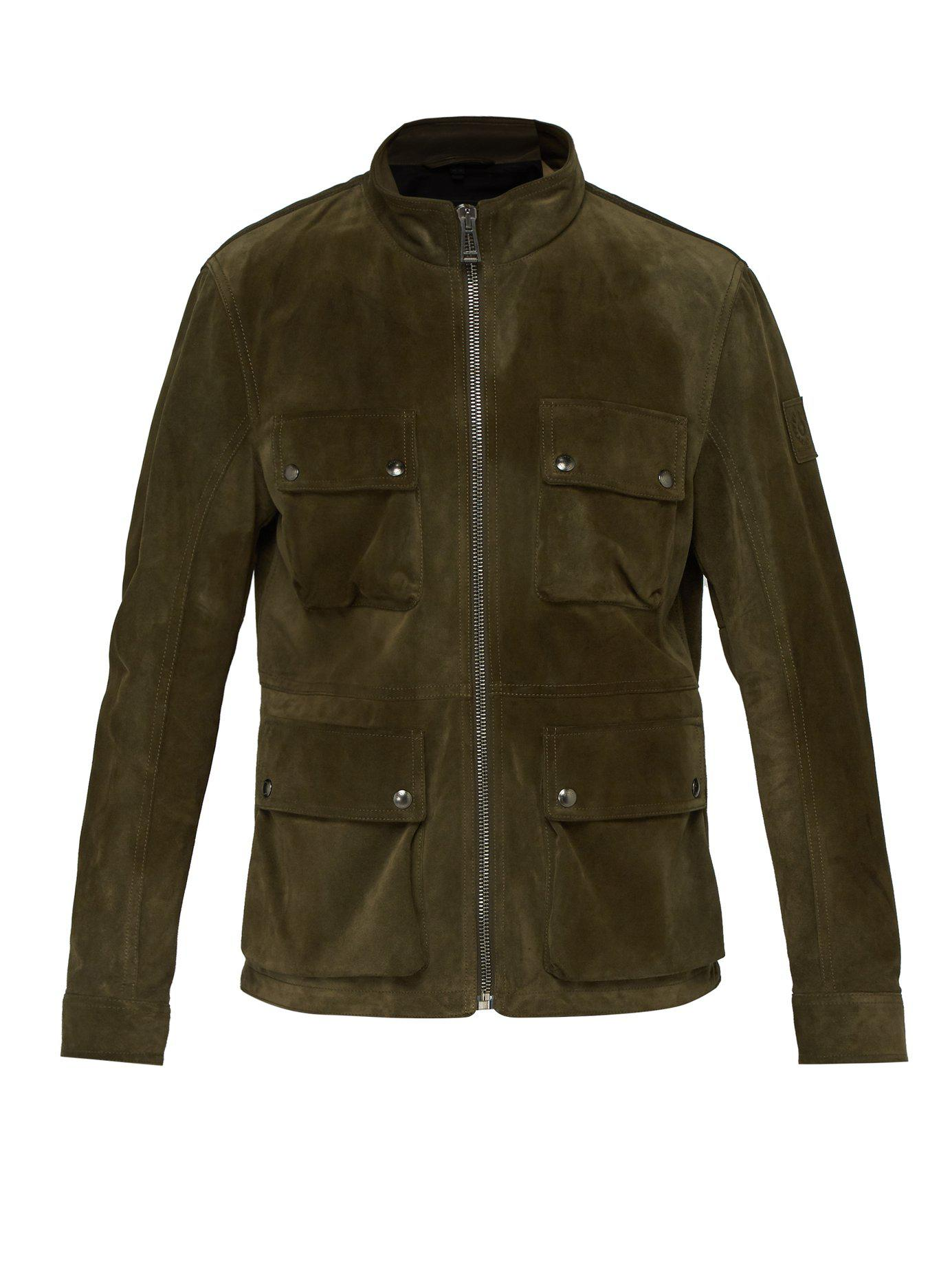 39b035f50e29 Lyst - Belstaff Brad Four Pocket Suede Field Jacket in Green for Men