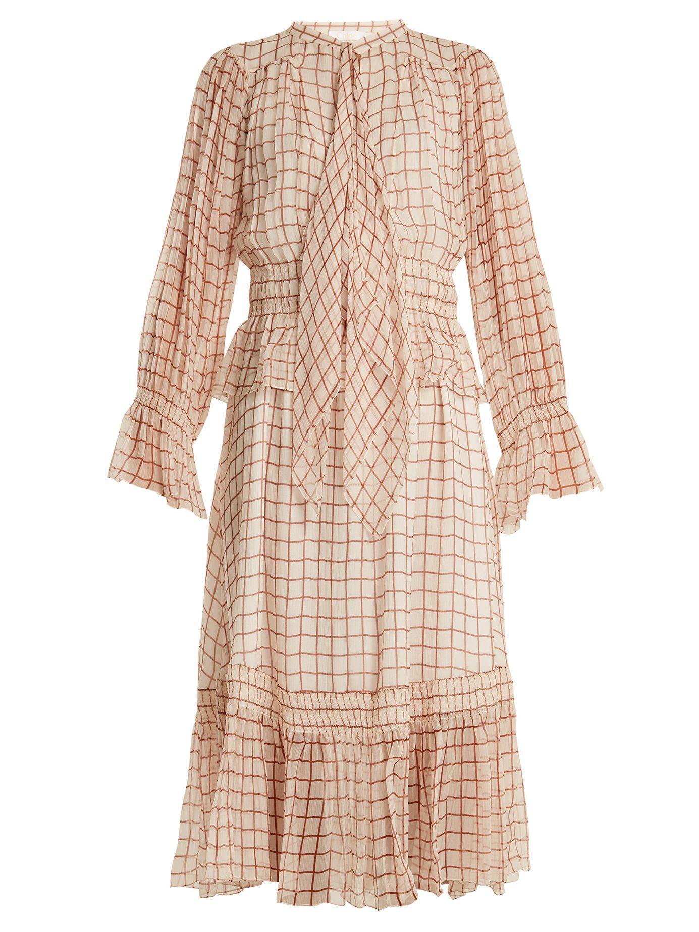Grid-print silk-georgette midi dress Chloé Buy Cheap Limited Edition 2iP9CJ16