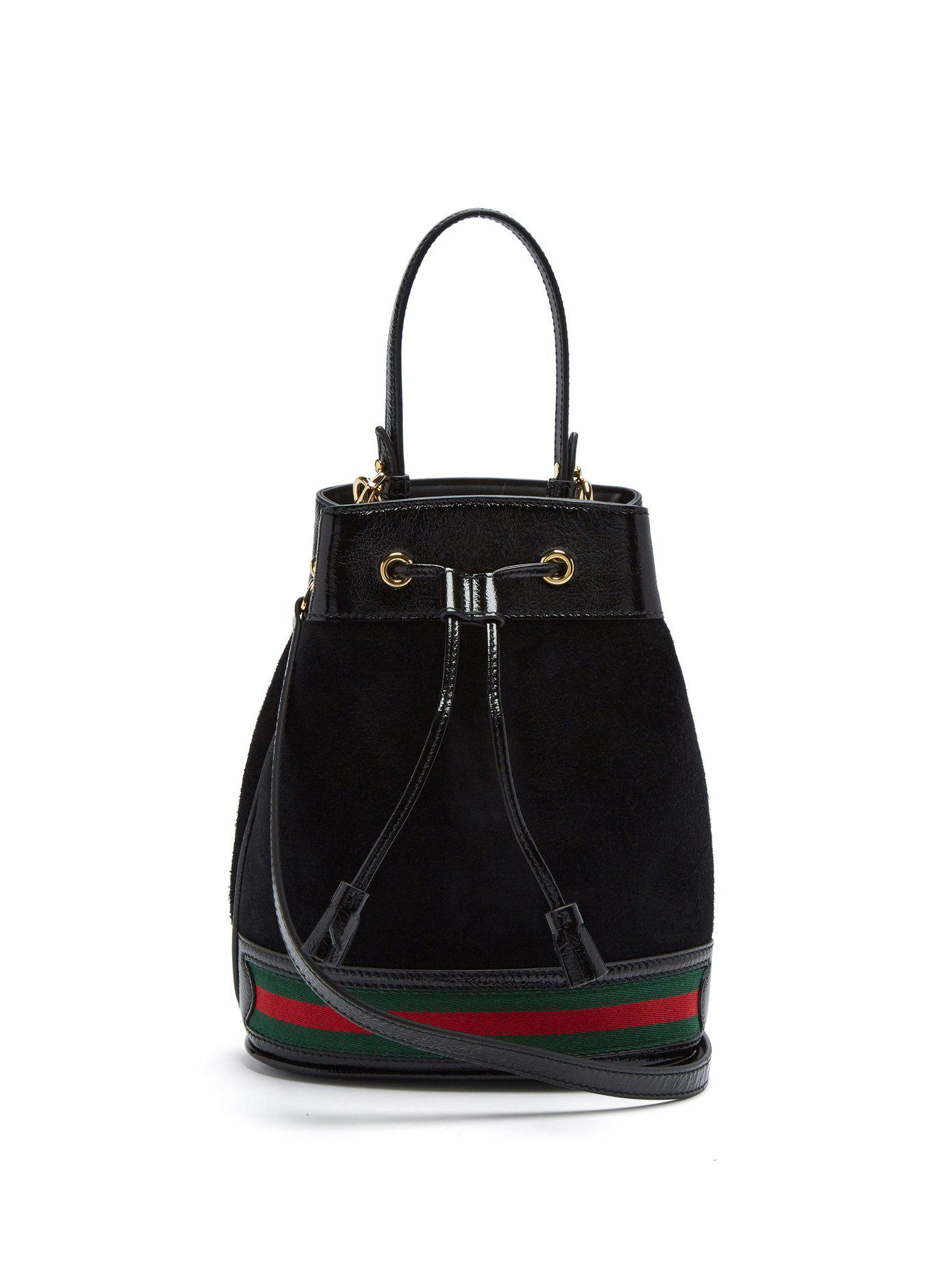 0bf6a4f793e Lyst - Gucci Ophidia Suede Bucket Bag in Black