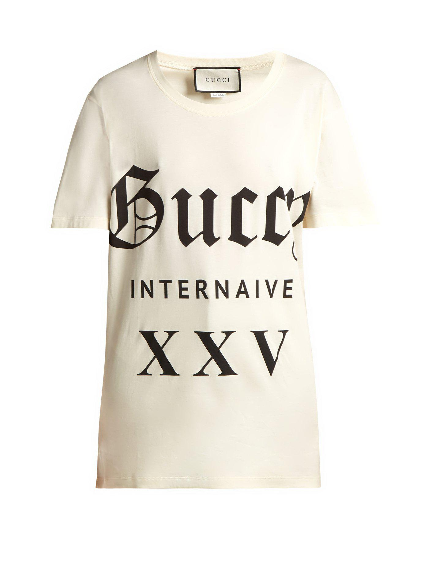 3d60878fa24 Gucci - White Printed Cotton Jersey T Shirt - Lyst. View fullscreen