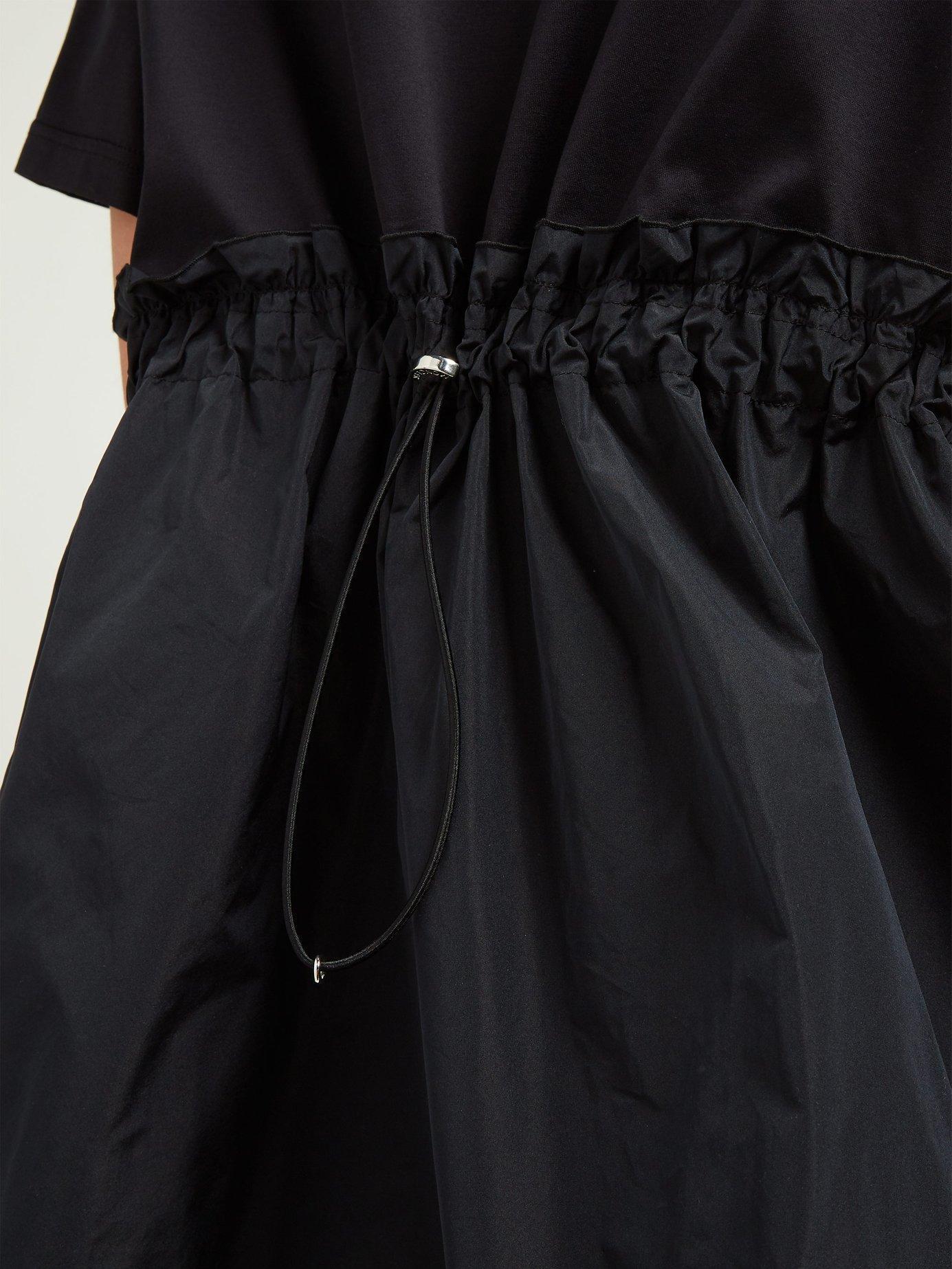 52b0ba3c65f6 Moncler - Black Abito Round Neck Cotton Jersey Dress - Lyst. View fullscreen