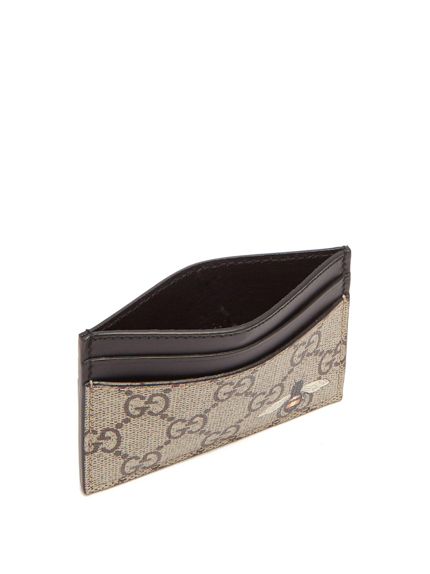 90d2d5607038 Lyst - Gucci Gg Supreme Bee Print Canvas Cardholder in Brown for Men