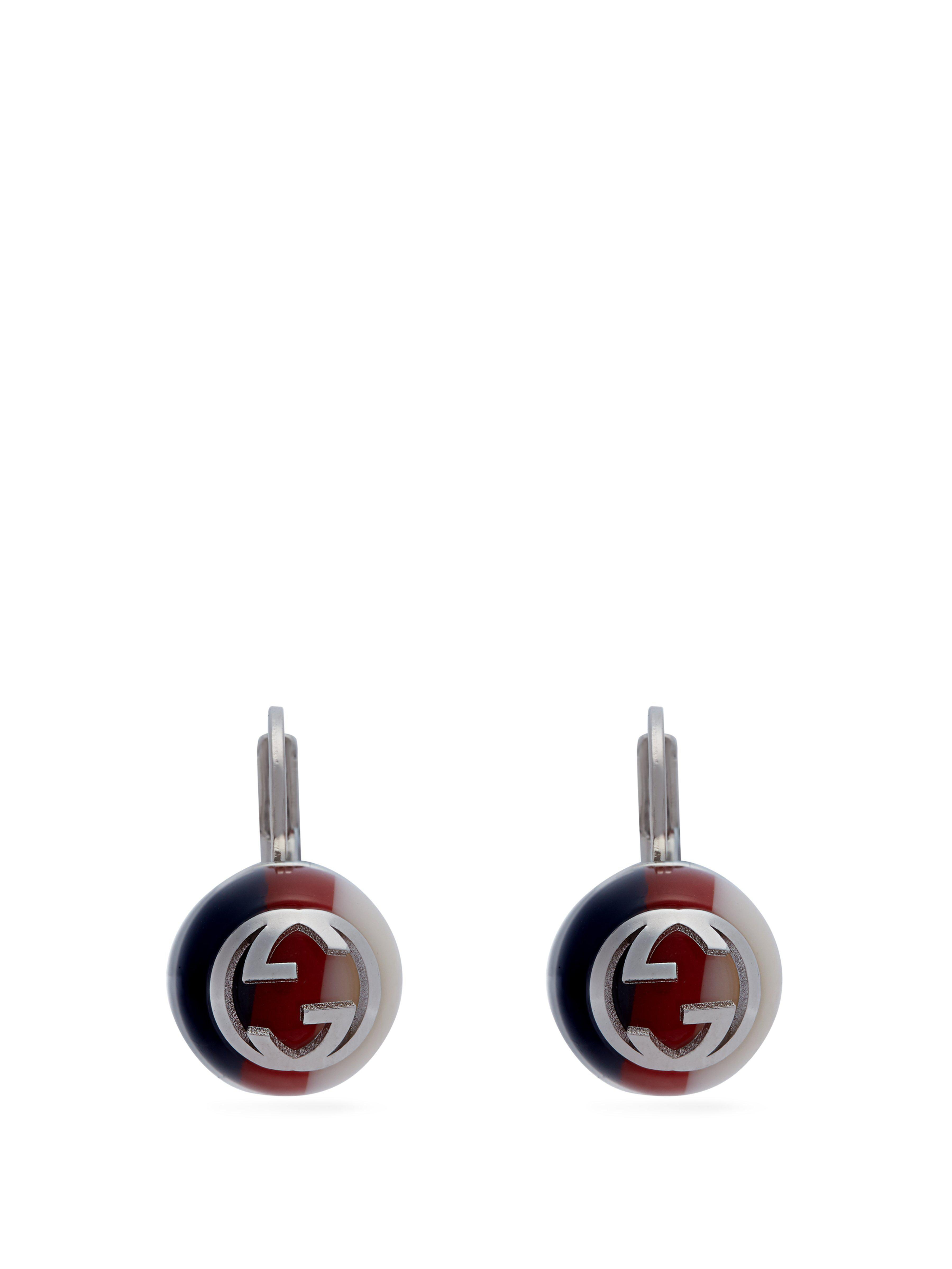 12aff112cc2 Gucci Logo Embellished Drop Earrings in Blue - Save 29% - Lyst