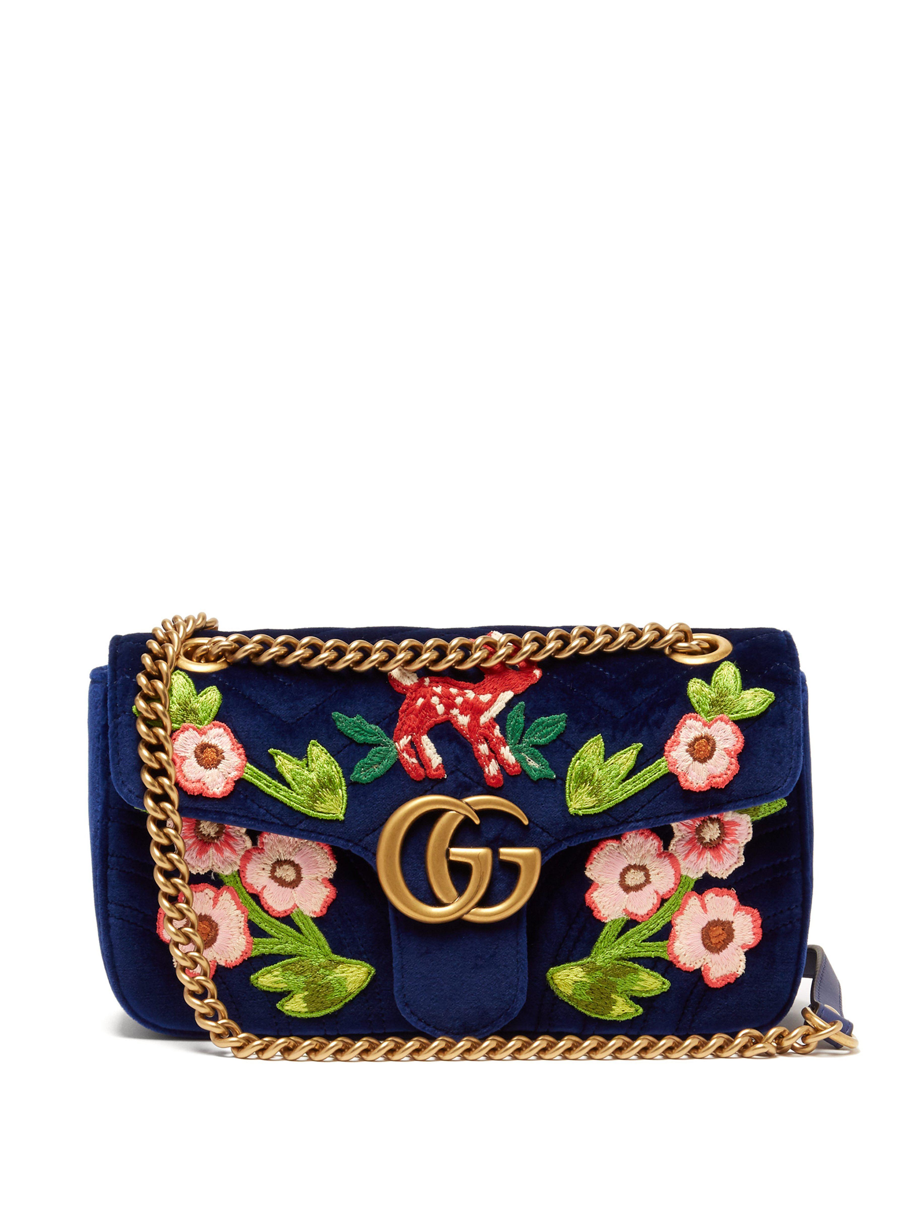 d46858b601fcc Gucci Gg Marmont Embroidered Velvet Shoulder Bag in Blue - Lyst