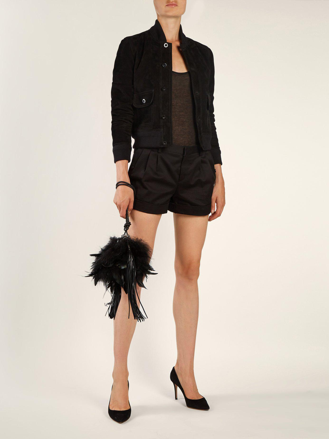 Lyst - Saint Laurent Mansour Feather Embellished Clutch in Black a65ccc44bfa0d