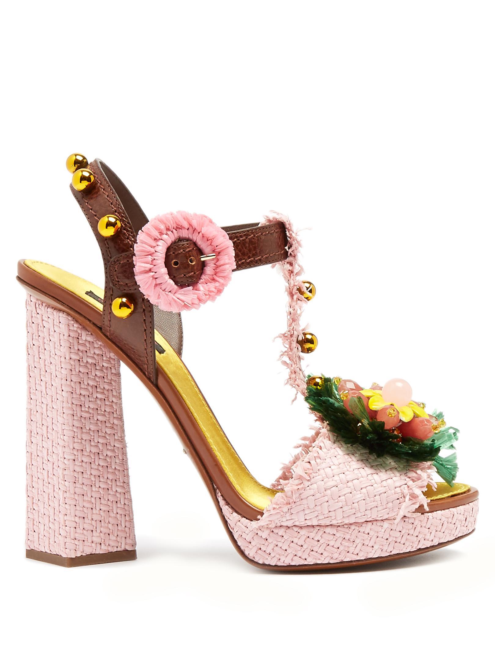 73b6dbefc17f Lyst - Dolce   Gabbana Embellished Raffia Block-heel Sandals