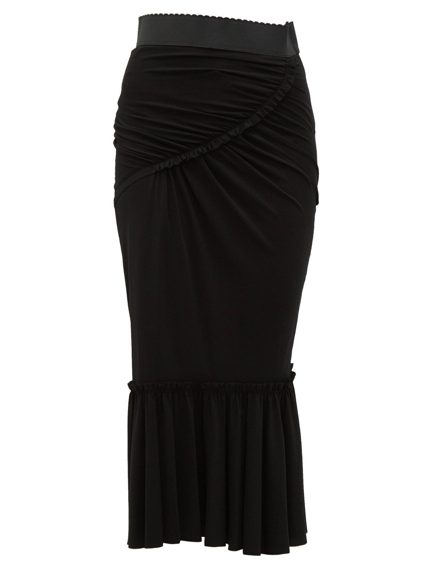 c5e3516bba Dolce & Gabbana Fishtail Midi Skirt in Black - Lyst