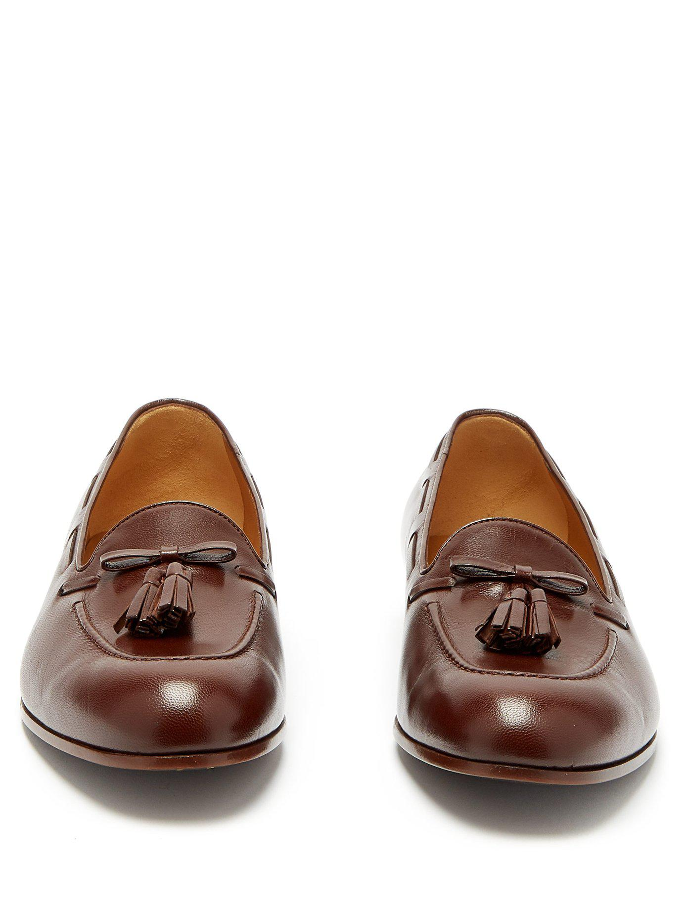 5fec96dc659 Gucci - Brown Loomis Leather Tassel Loafers for Men - Lyst. View fullscreen