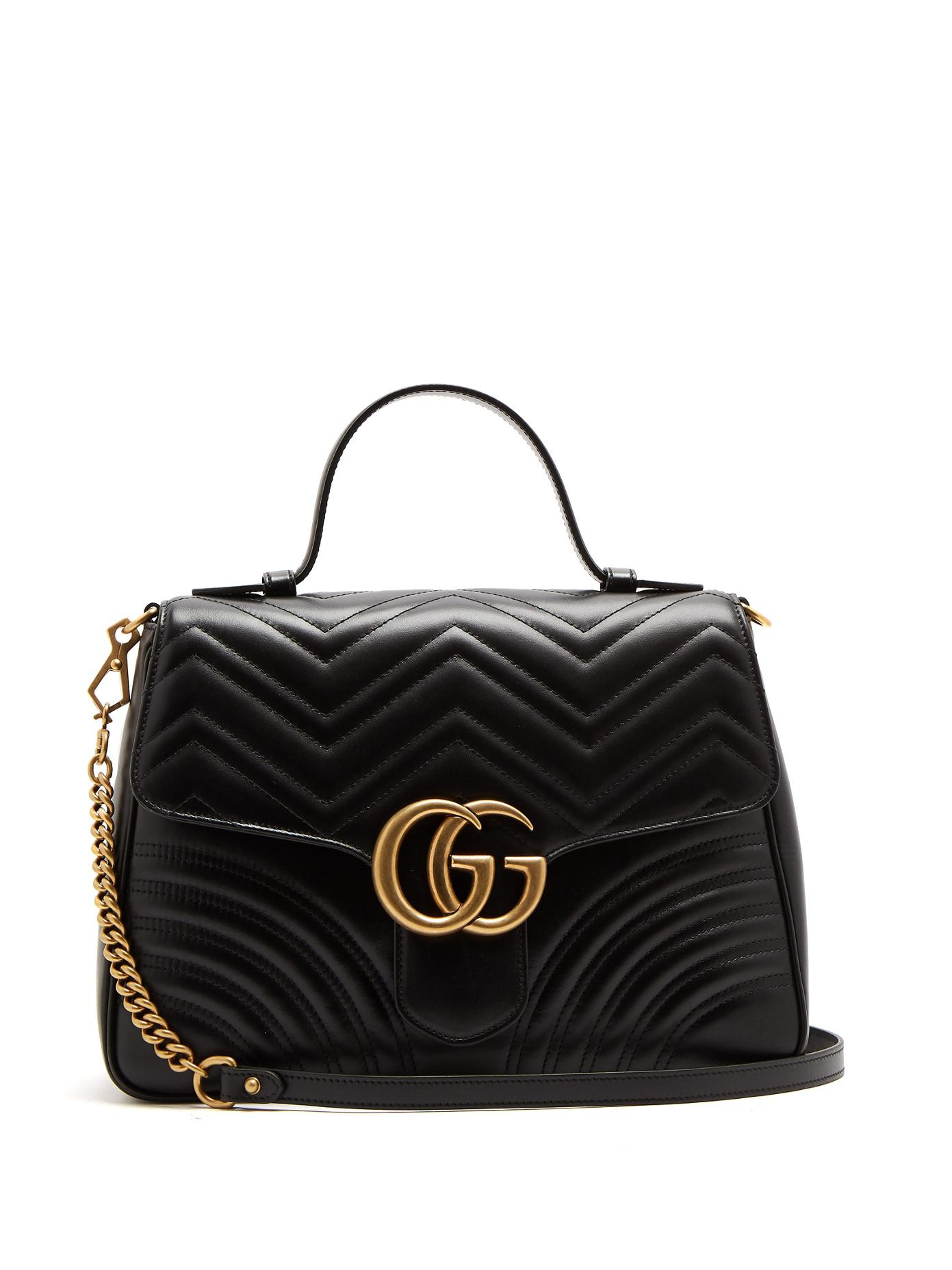 6abb54b7115b7 Gucci Marmont Bag Medium Vs Large. Lyst - Gucci Gg Marmont Medium Quilted-leather  Shoulder-bag in Black ...