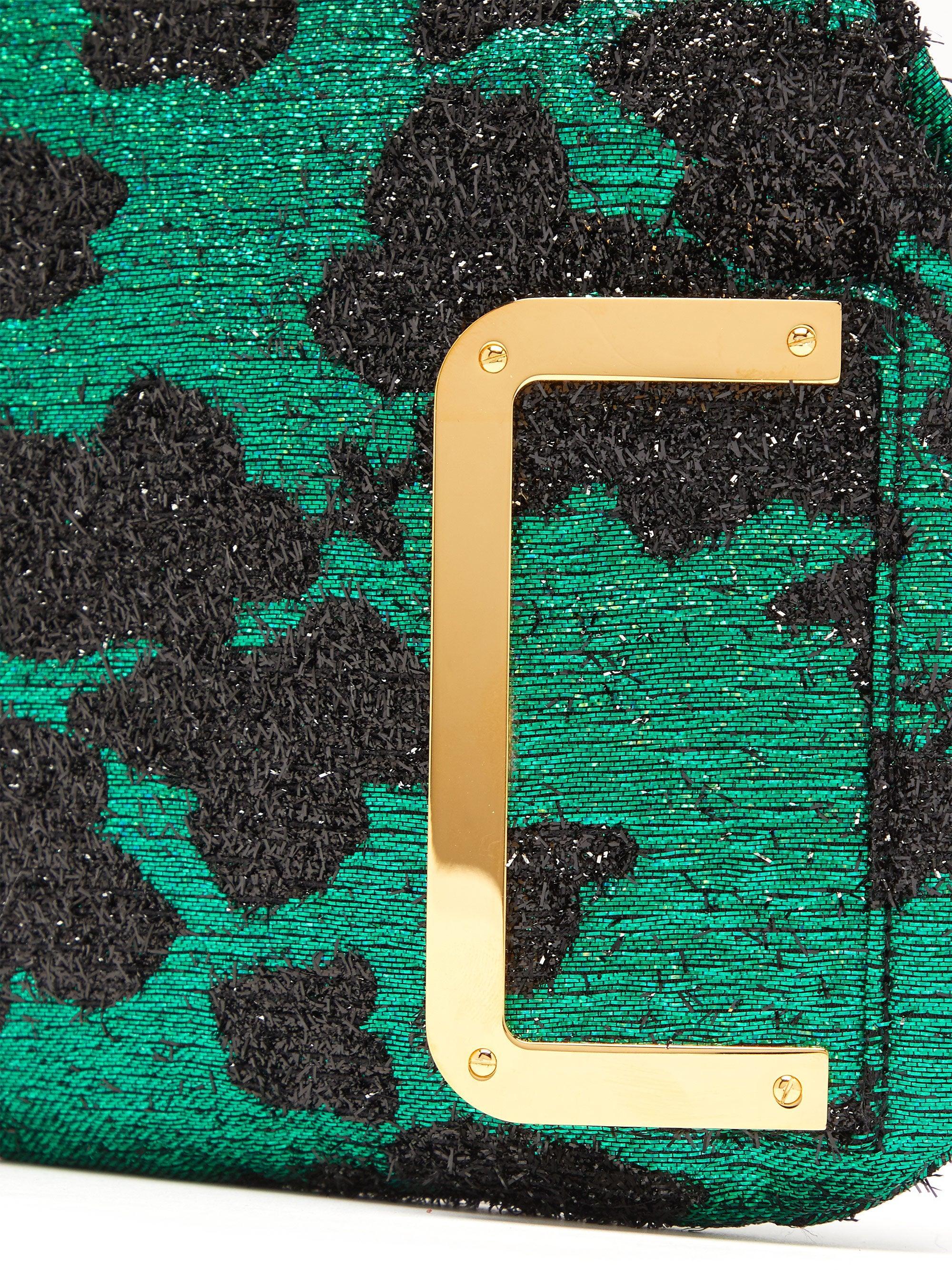 Pochette en lamé fleuri 5AM Satin Bienen-Davis en coloris Vert