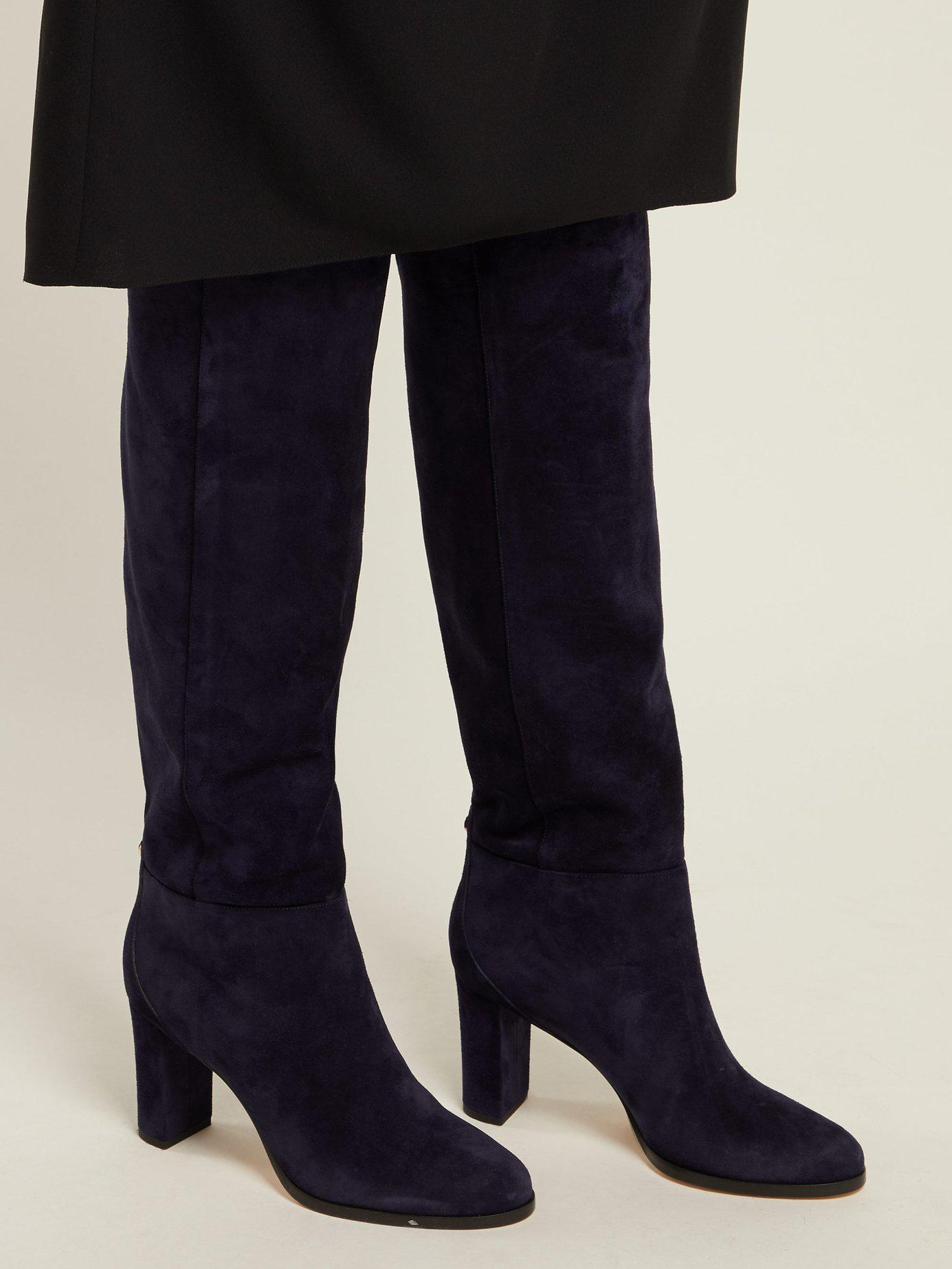 4acfd652b77a Jimmy Choo - Blue Madalie 80 Knee High Suede Boots - Lyst. View fullscreen