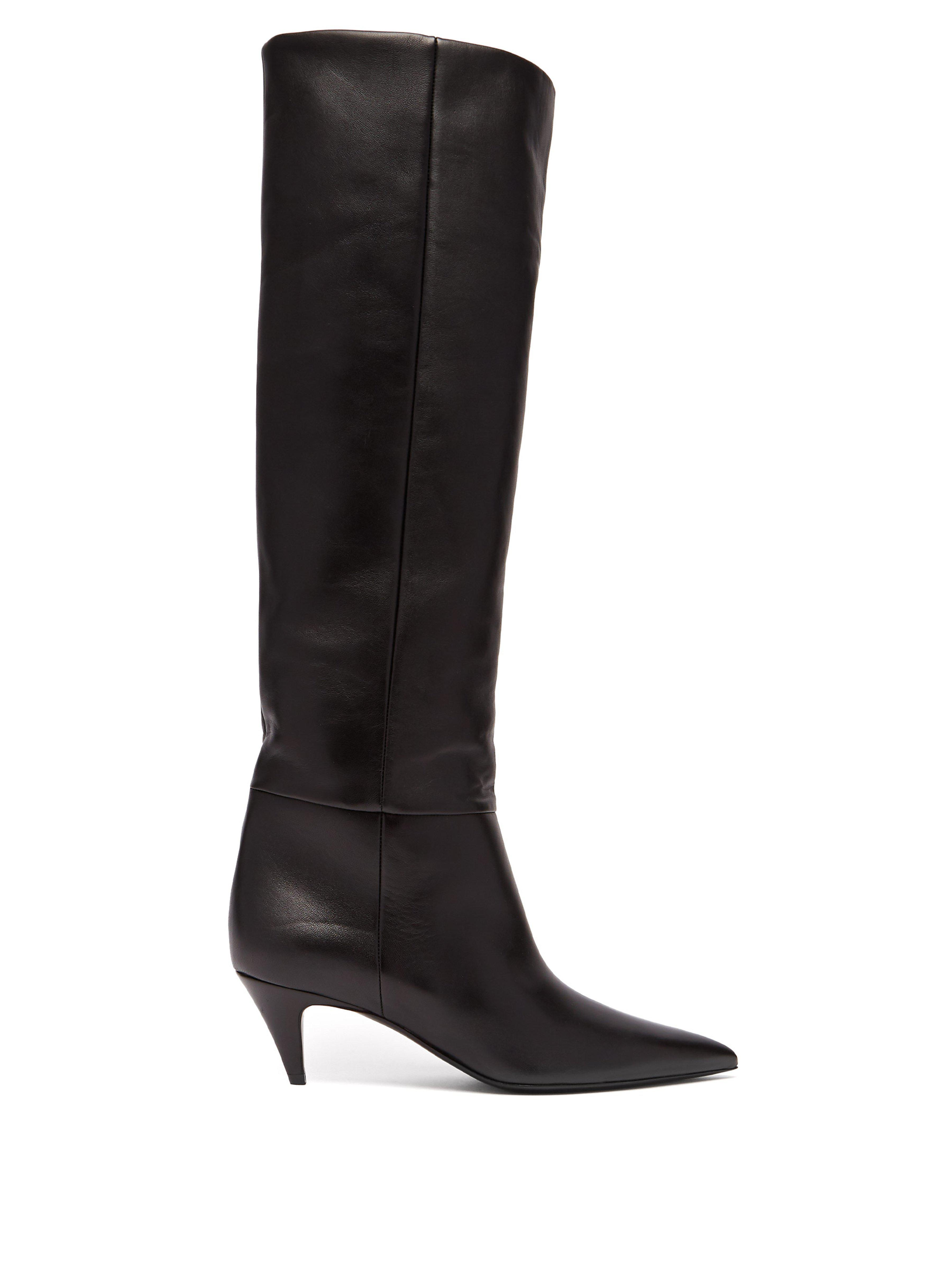d5a9fede304 Saint Laurent Charlotte 55 Leather Knee Boots in Black - Lyst