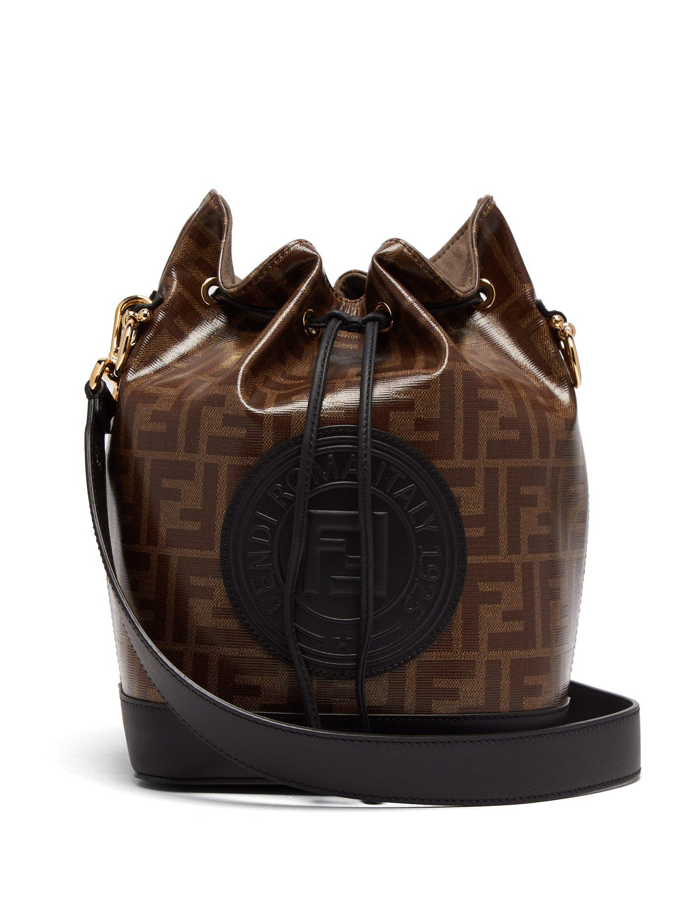 Lyst - Fendi Mon Tresor Ff Jacquard Leather Bucket Bag in Brown 89818fa8328a3