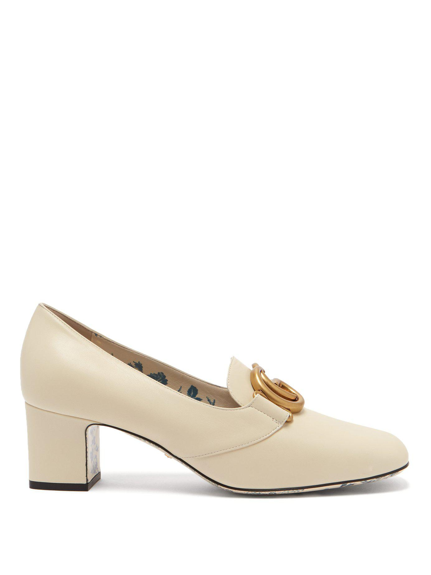 378c65c76fd Lyst - Gucci Gg Marmont Leather Block Heel Loafers in White