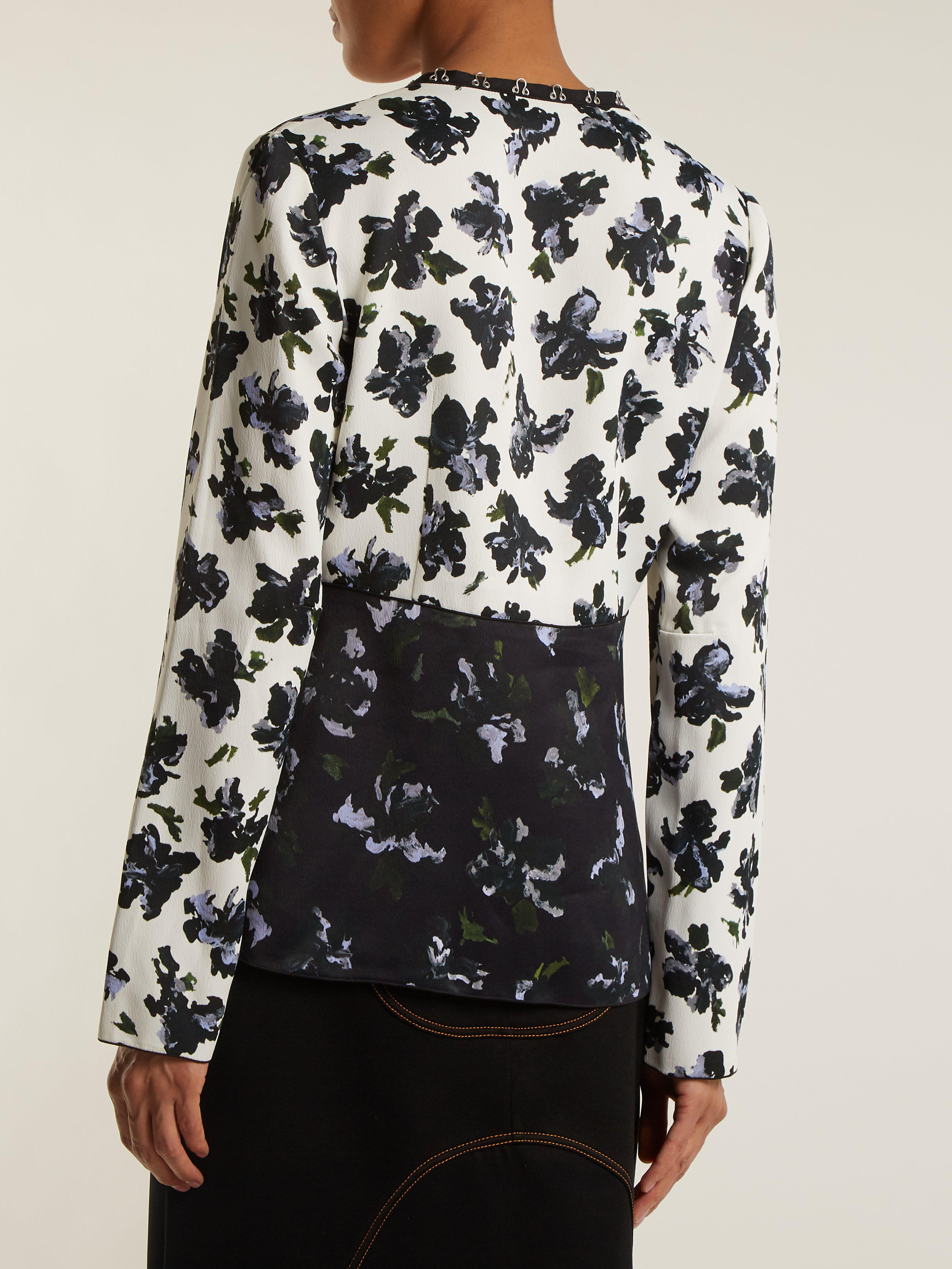 Proenza Schouler Synthetic Floral Print V Neck Blouse in Black Blue (Black) - Save 60%
