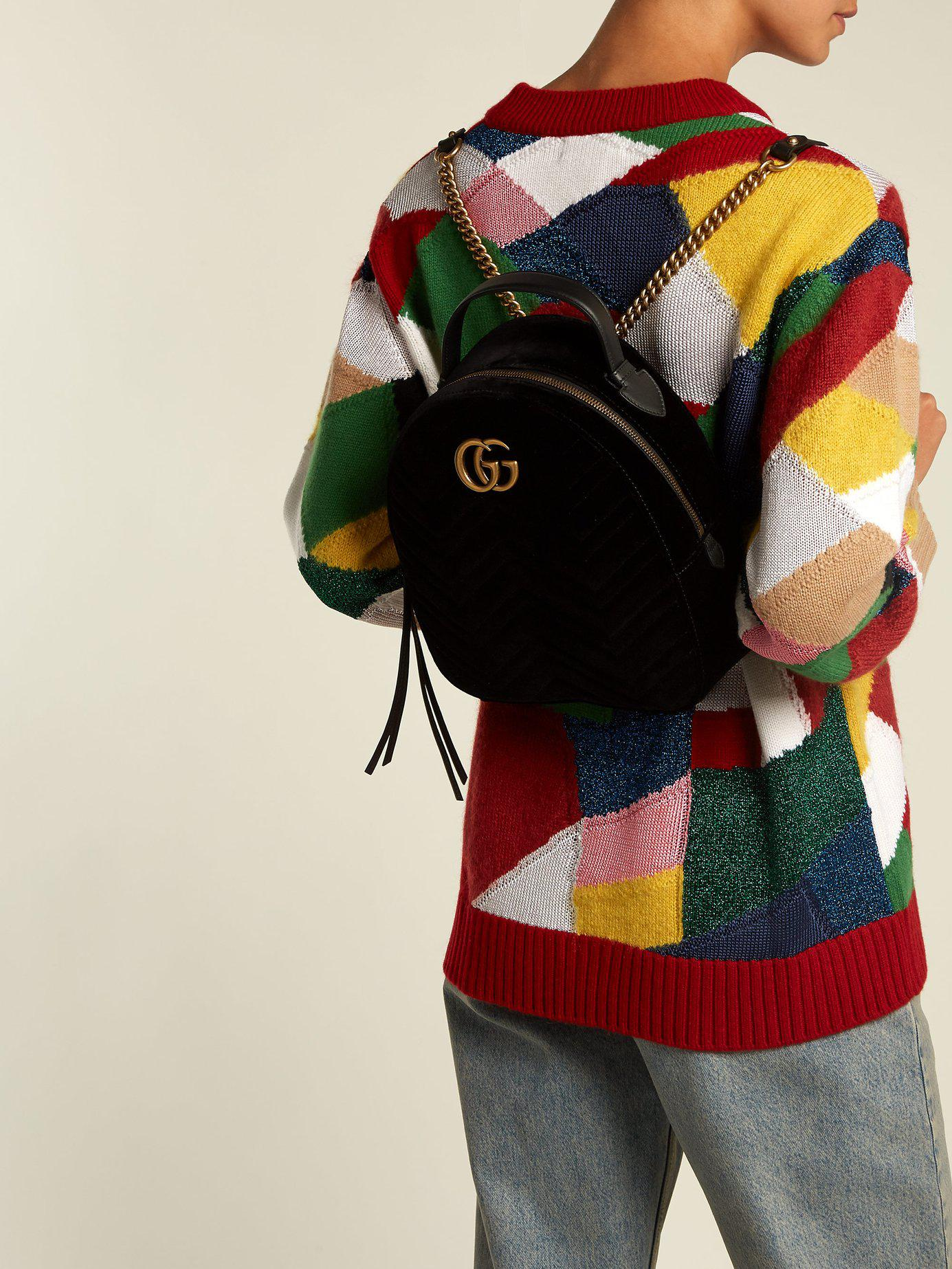 de3875f48601 Lyst - Gucci Gg Marmont Velvet Backpack in Black