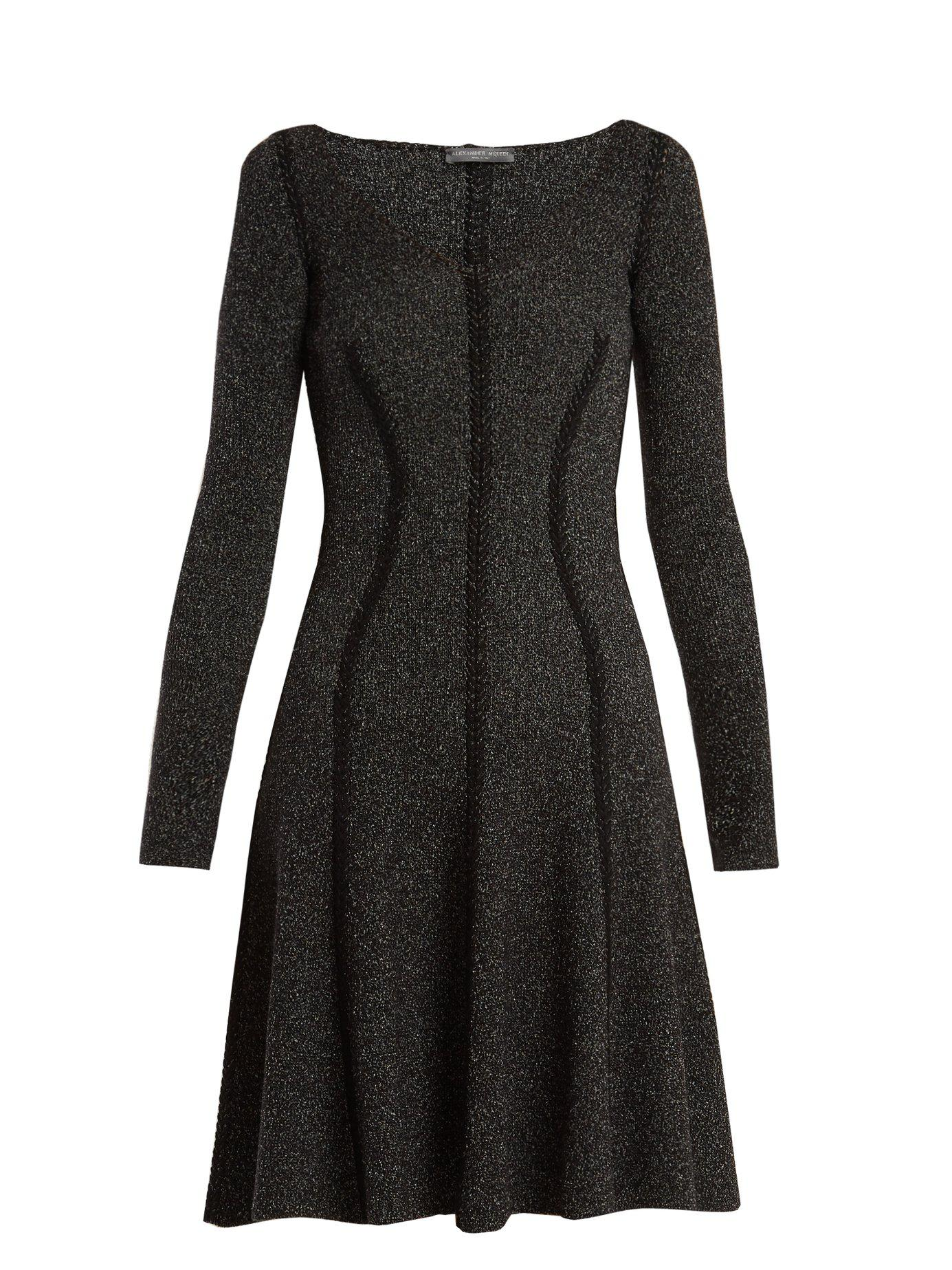 1fe3d639543 Alexander McQueen. Women s Black Speckled Flared Skirt Ribbed Knit Dress