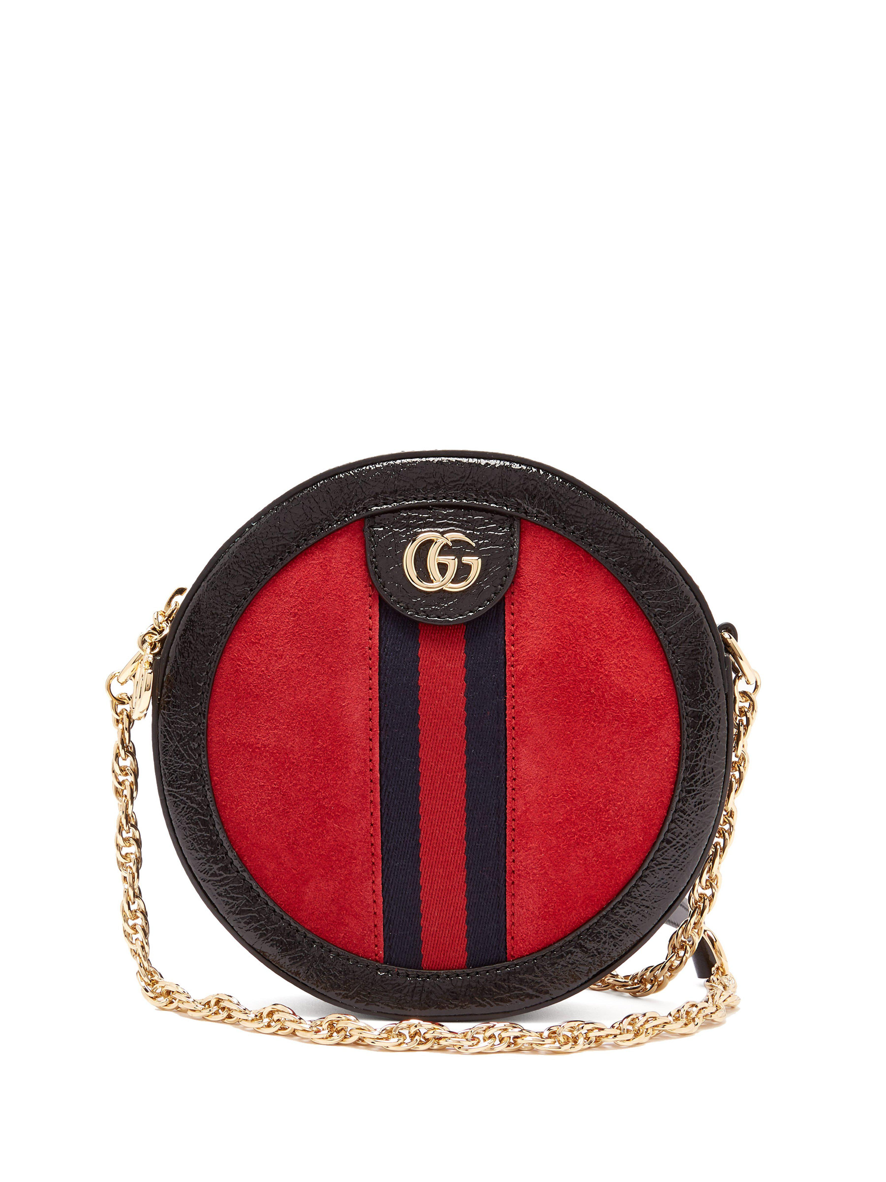67cc901a9aae77 Gucci Ophidia Gg Leather And Suede Cross Body Bag in Red - Lyst