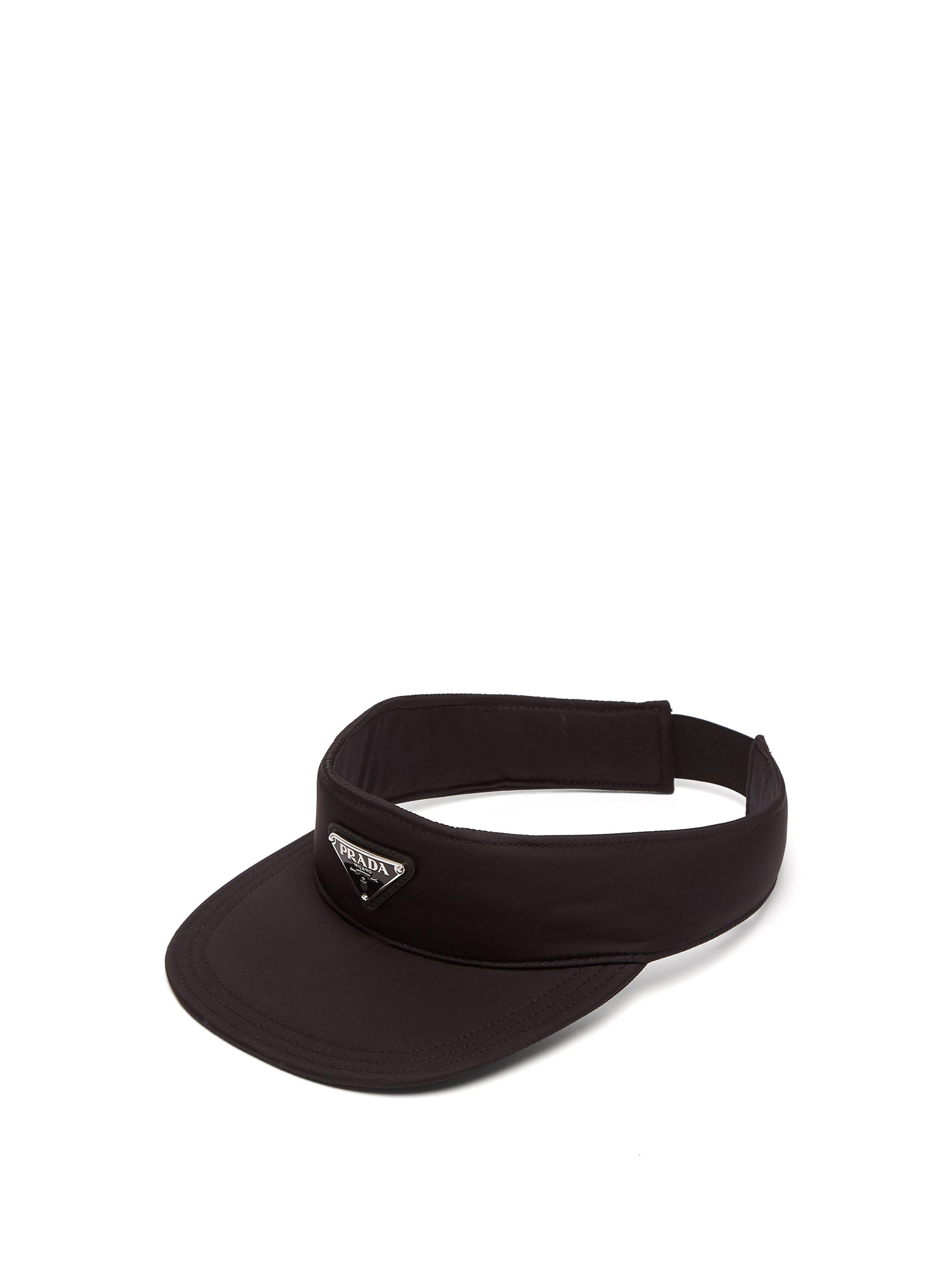b2c243fd90480 Prada - Black Logo Appliquéd Nylon Visor for Men - Lyst. View fullscreen