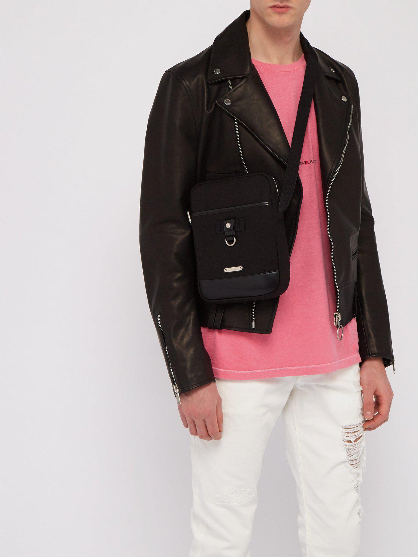 202d14ef99c0 Lyst - Saint Laurent Rivington Canvas Cross Body Bag in Black for Men -  Save 16%