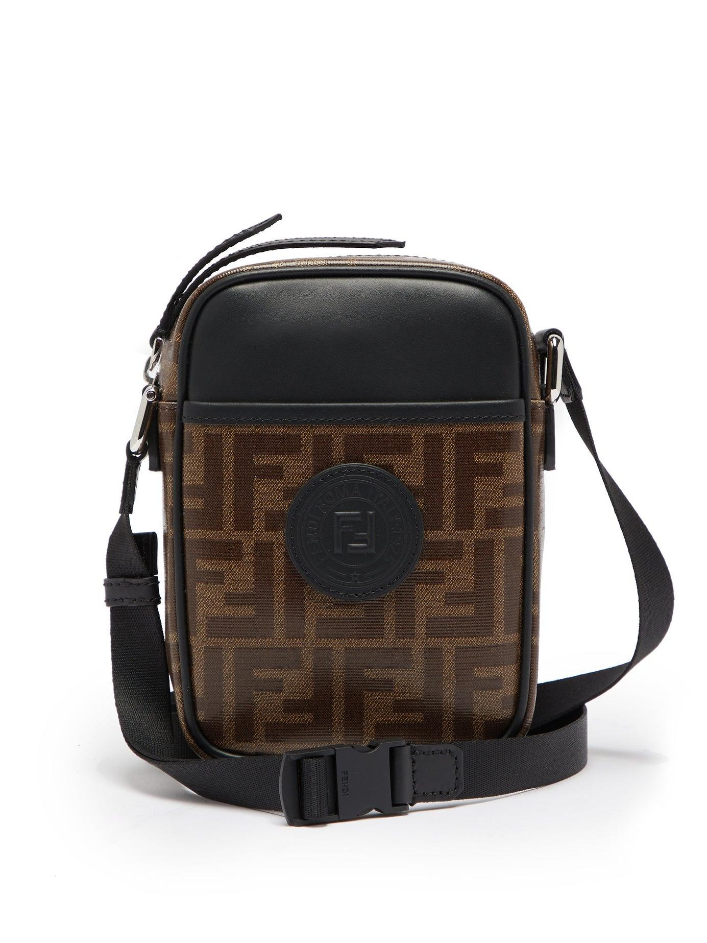 7dd388ac31 Fendi - Brown Ff Cross Body Leather And Canvas Camera Bag for Men - Lyst.  View fullscreen