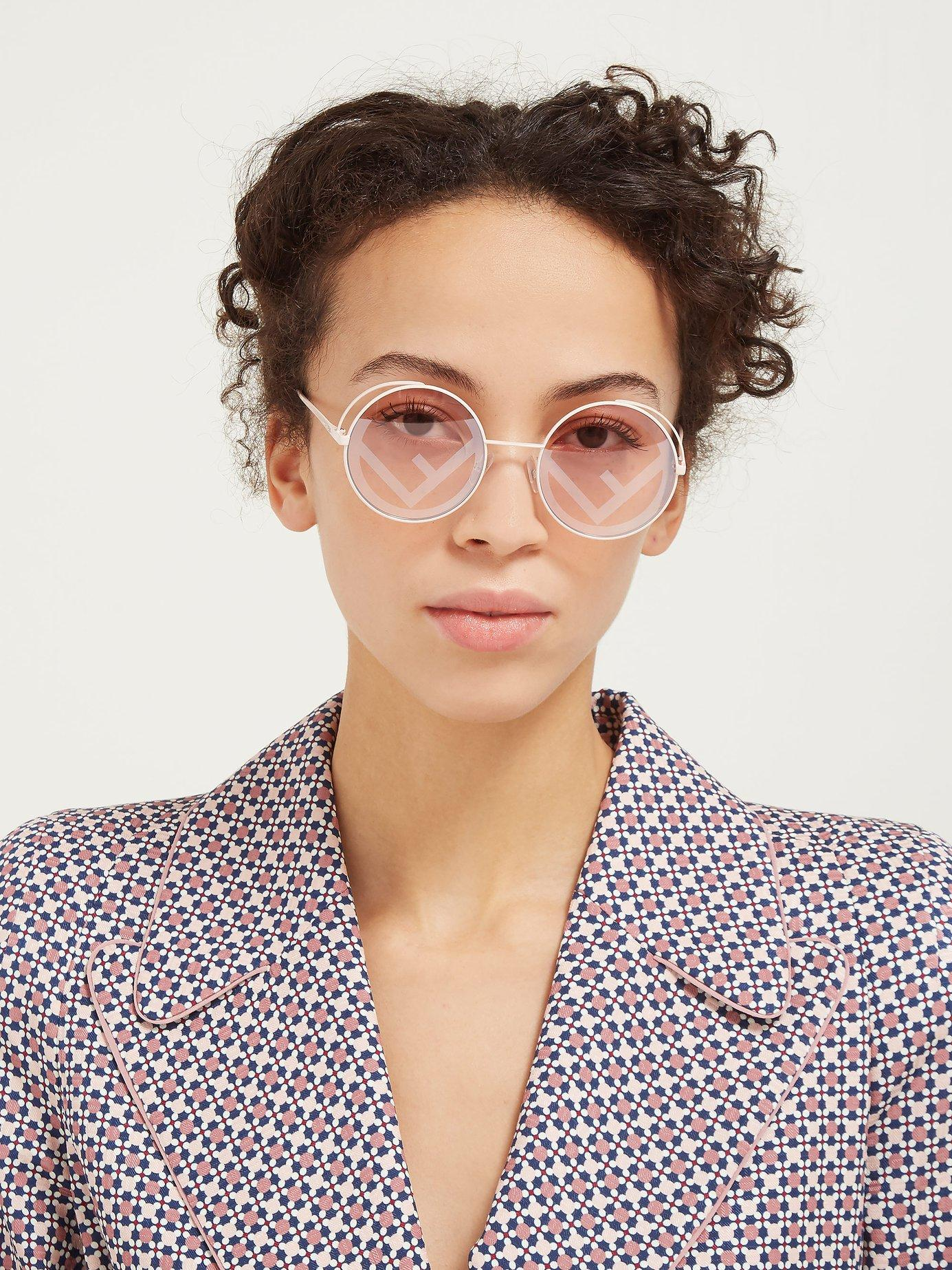 f0935acfef46 Fendi Rama Rounded Frame Metal Sunglasses in Pink - Lyst