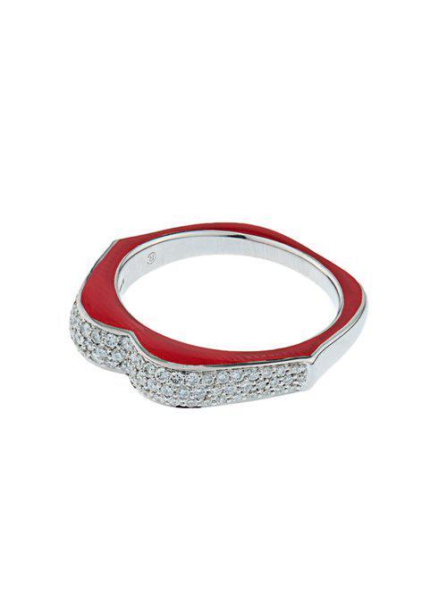 Raphaele Canot Omg! Diamond, Enamel & White Gold Ring in Red (Metallic)